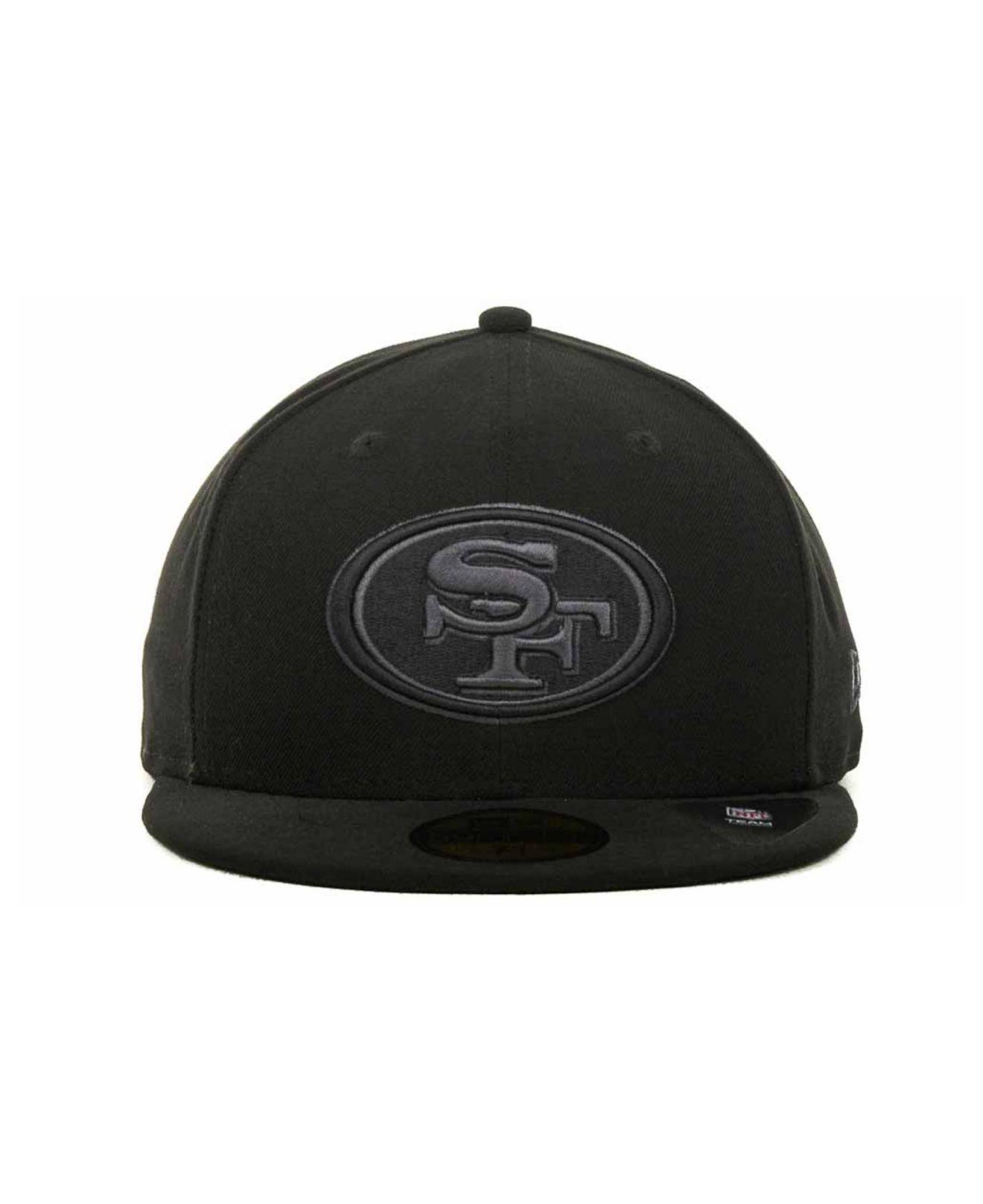 ... new era nfl hat sports outdoors 59859 91aaf  coupon code for lyst ktz san  francisco 49ers black gray 59fifty cap in black for men 6d6c22a41