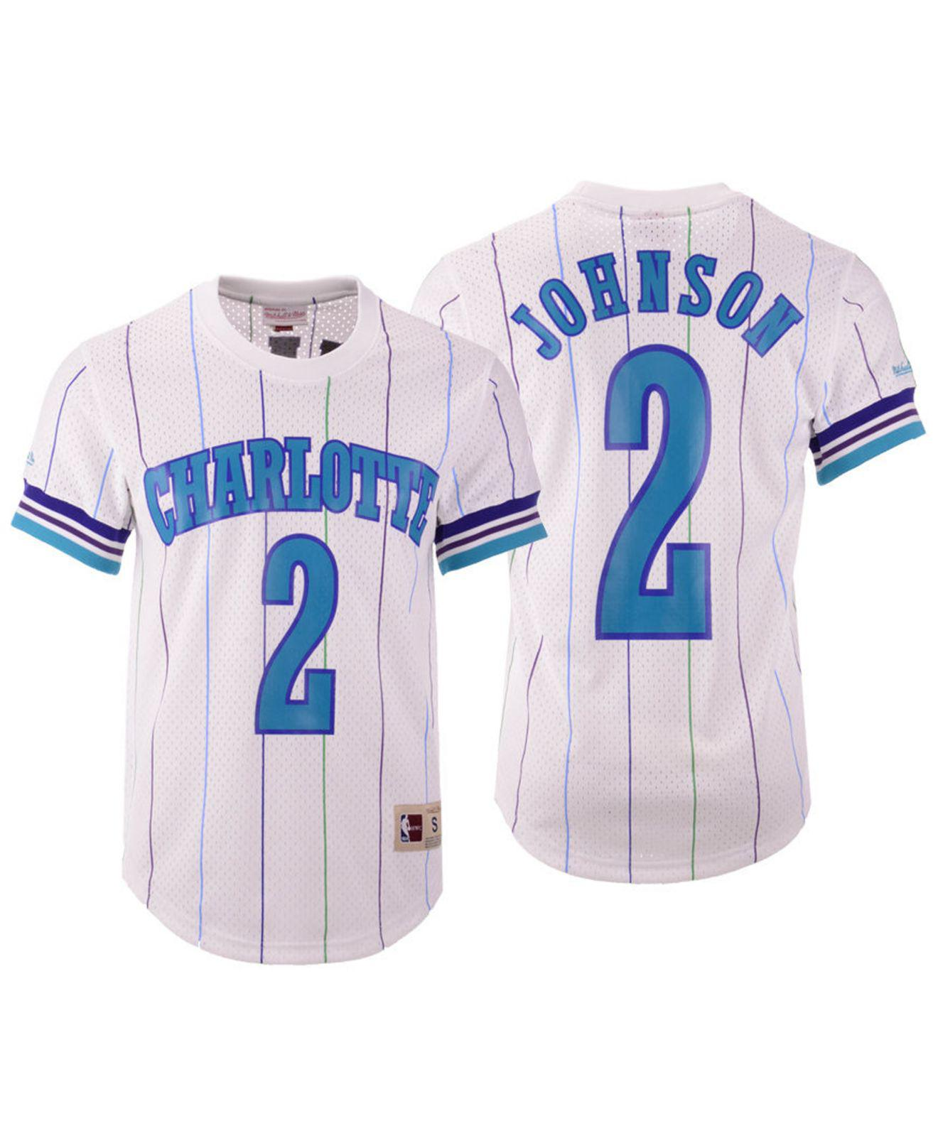 00a2ec54c Mitchell   Ness. Men s White Larry Johnson Charlotte Hornets Name And  Number Mesh Crewneck Jersey