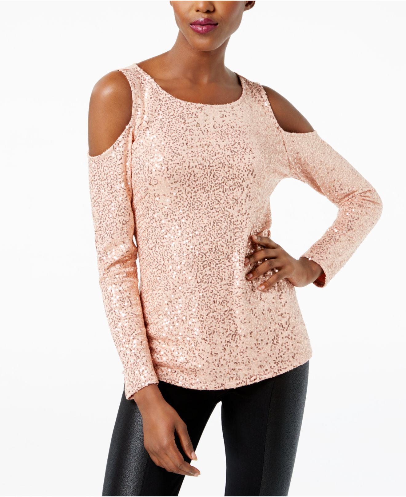 4e3b1c4b0cc9b6 Lyst - INC International Concepts Sequined Cold-shoulder Top in Pink