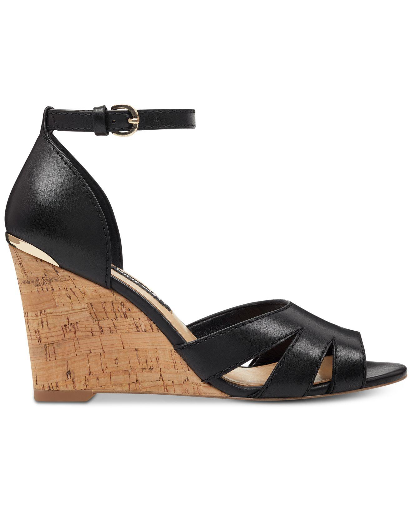 6cafaf25bd Lyst - Nine West Lilly Wedge Sandals in Black