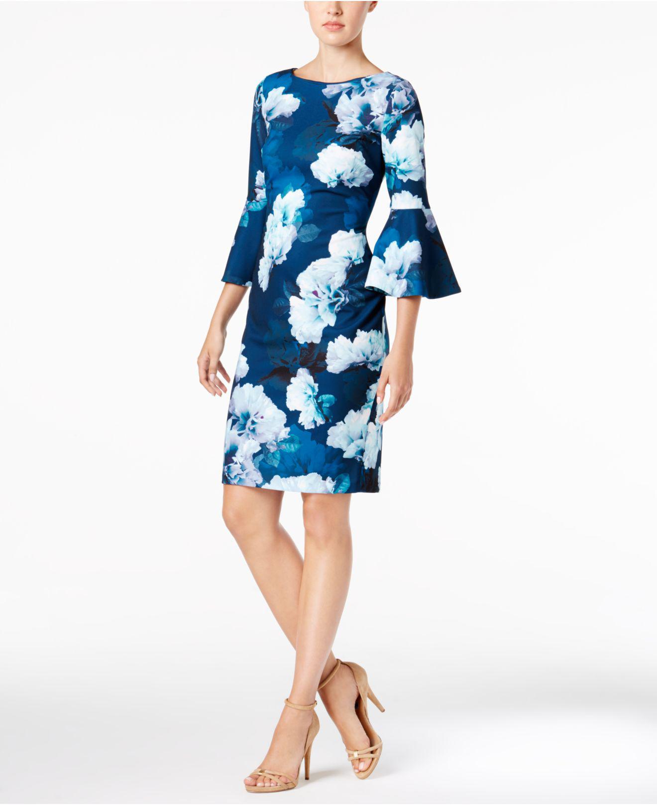31fa4c84af115e CALVIN KLEIN 205W39NYC Floral-print Bell-sleeve Sheath Dress in Blue ...