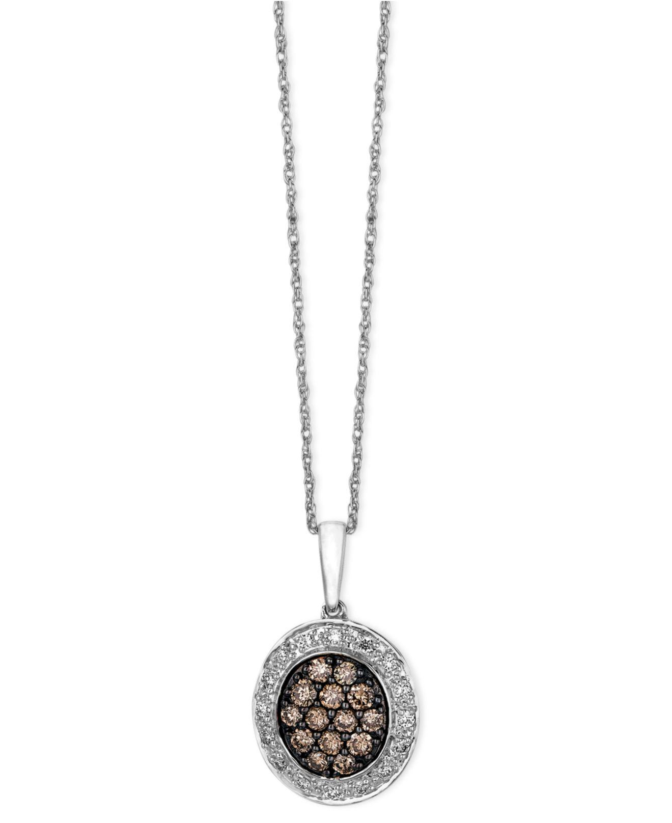 Lyst le vian diamond chocolate and white diamond oval pendant 38 le vian womens brown diamond chocolate aloadofball Gallery