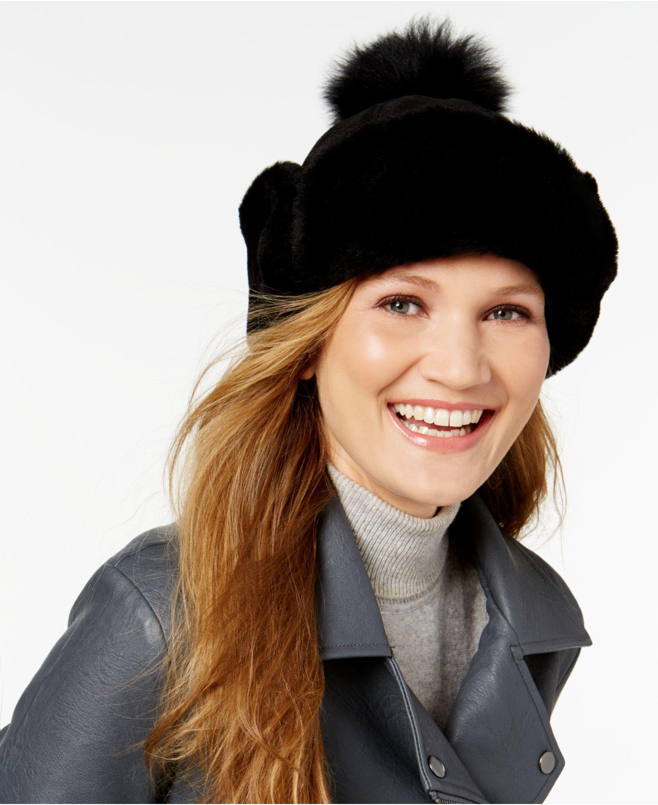 Lyst - UGG Shearling Pom Pom Hat in Black 1c308789bb6