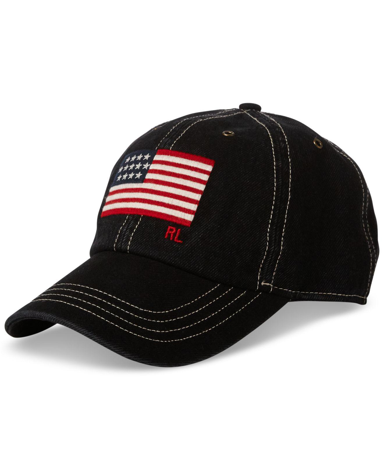 Lyst - Polo Ralph Lauren Flag Denim Baseball Cap in Black for Men ... 1333b3258cfc