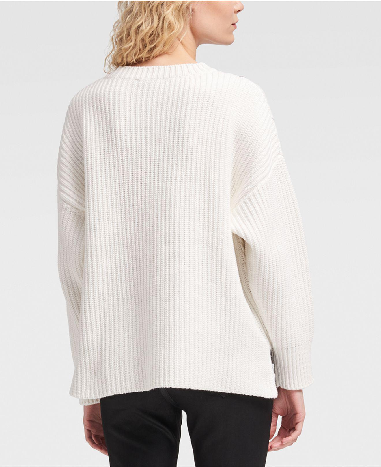 2dc5f96371 Lyst - DKNY Faux-leather Cable-knit Sweater in White