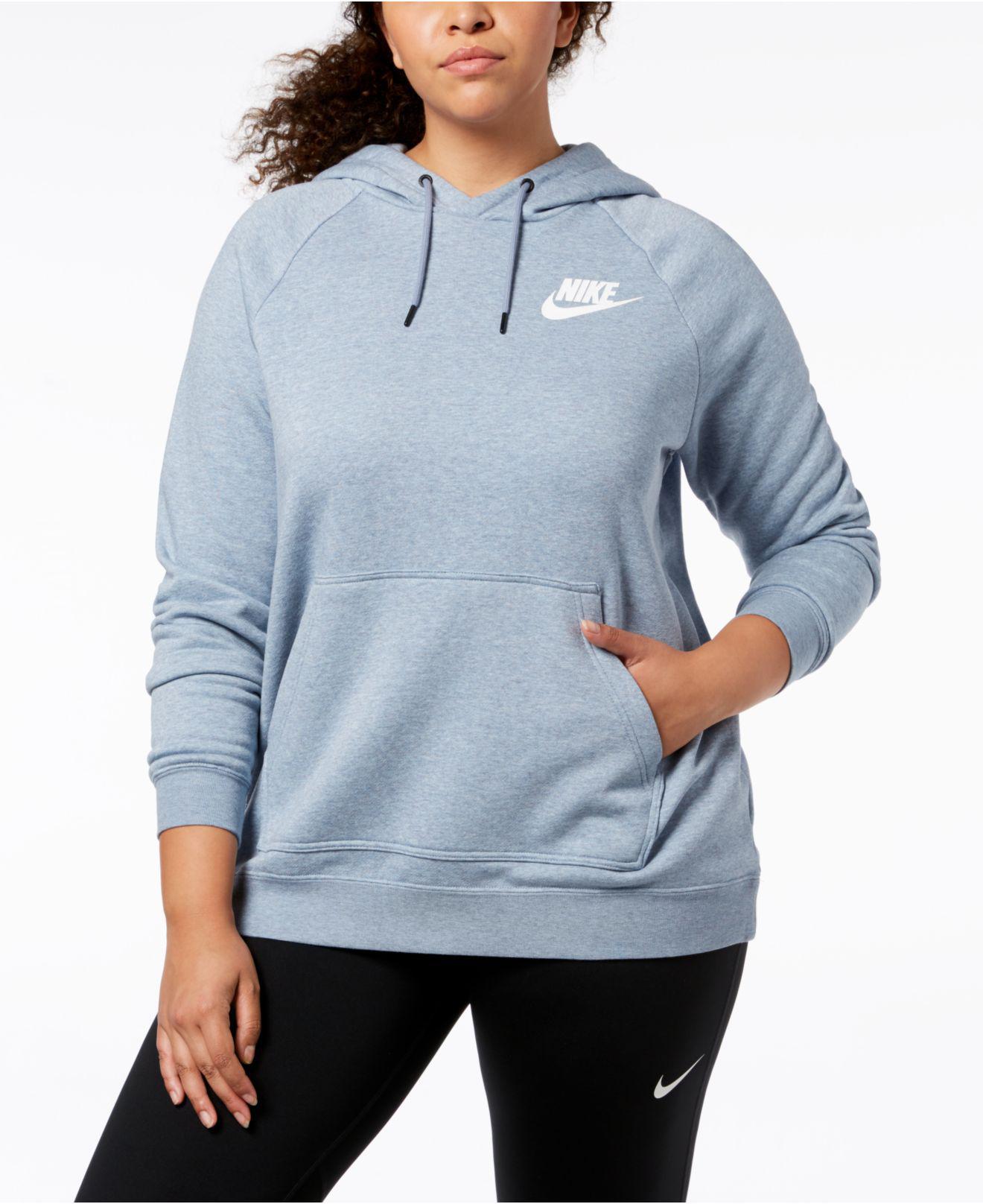 cf9004c2e4cdc Lyst - Nike Plus Size Sportswear Rally Fleece Hoodie in Blue