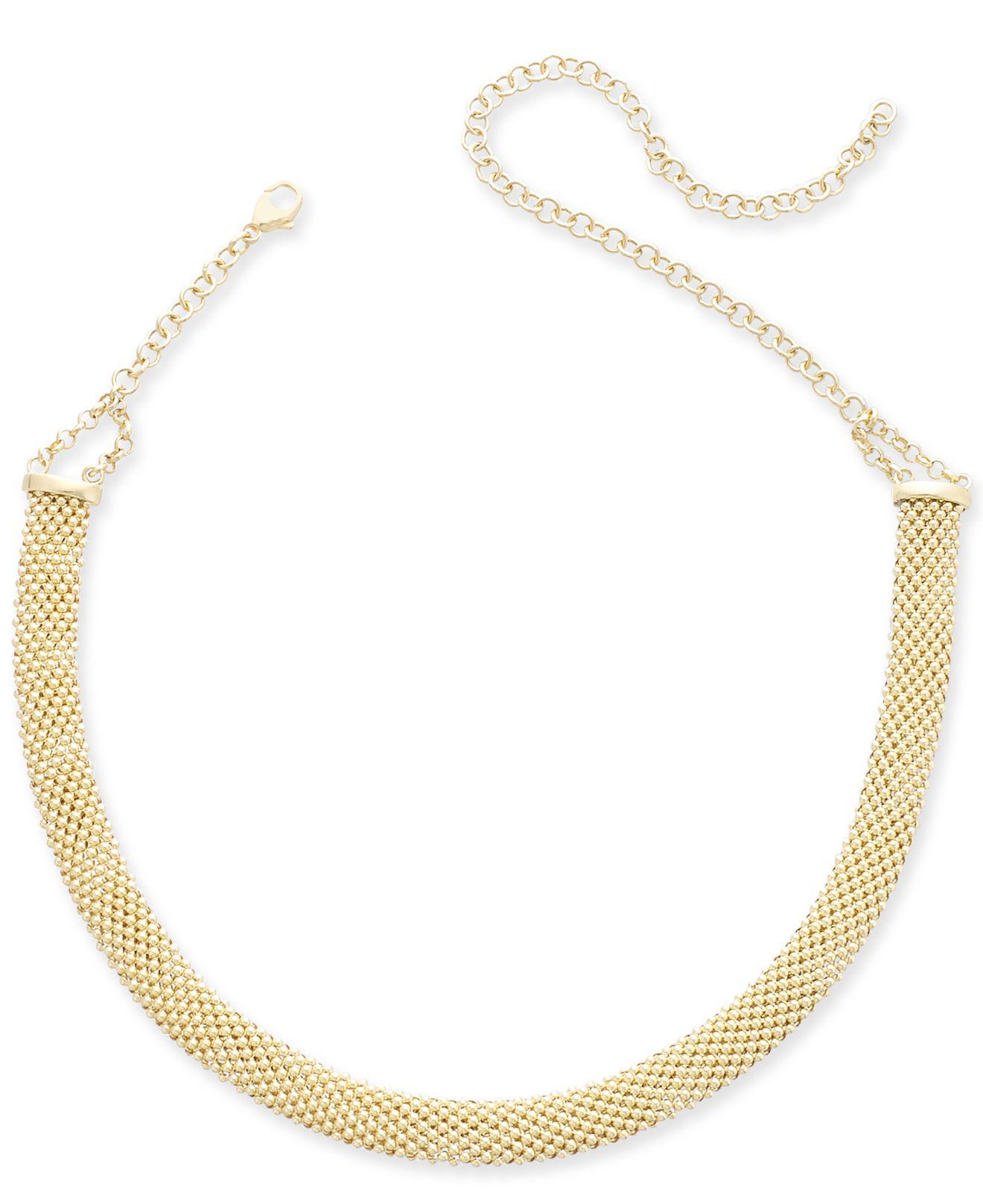 b059e8675d71 Lyst - Macy s Popcorn Mesh Link Choker Necklace In 14k Gold-plated ...