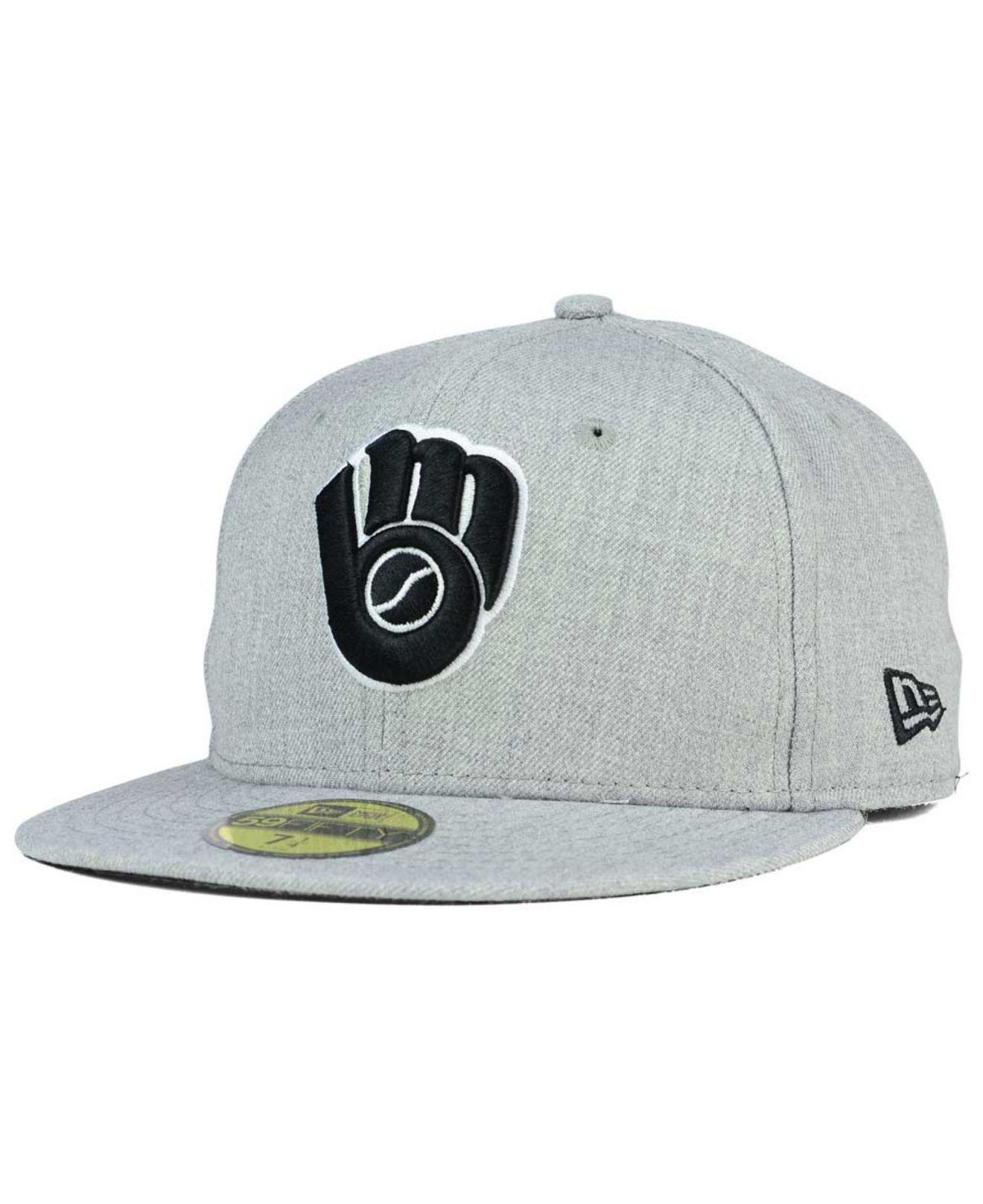 huge selection of ac0e5 96064 ... czech ktz milwaukee brewers heather black white 59fifty cap for men lyst.  view fullscreen 01fa1