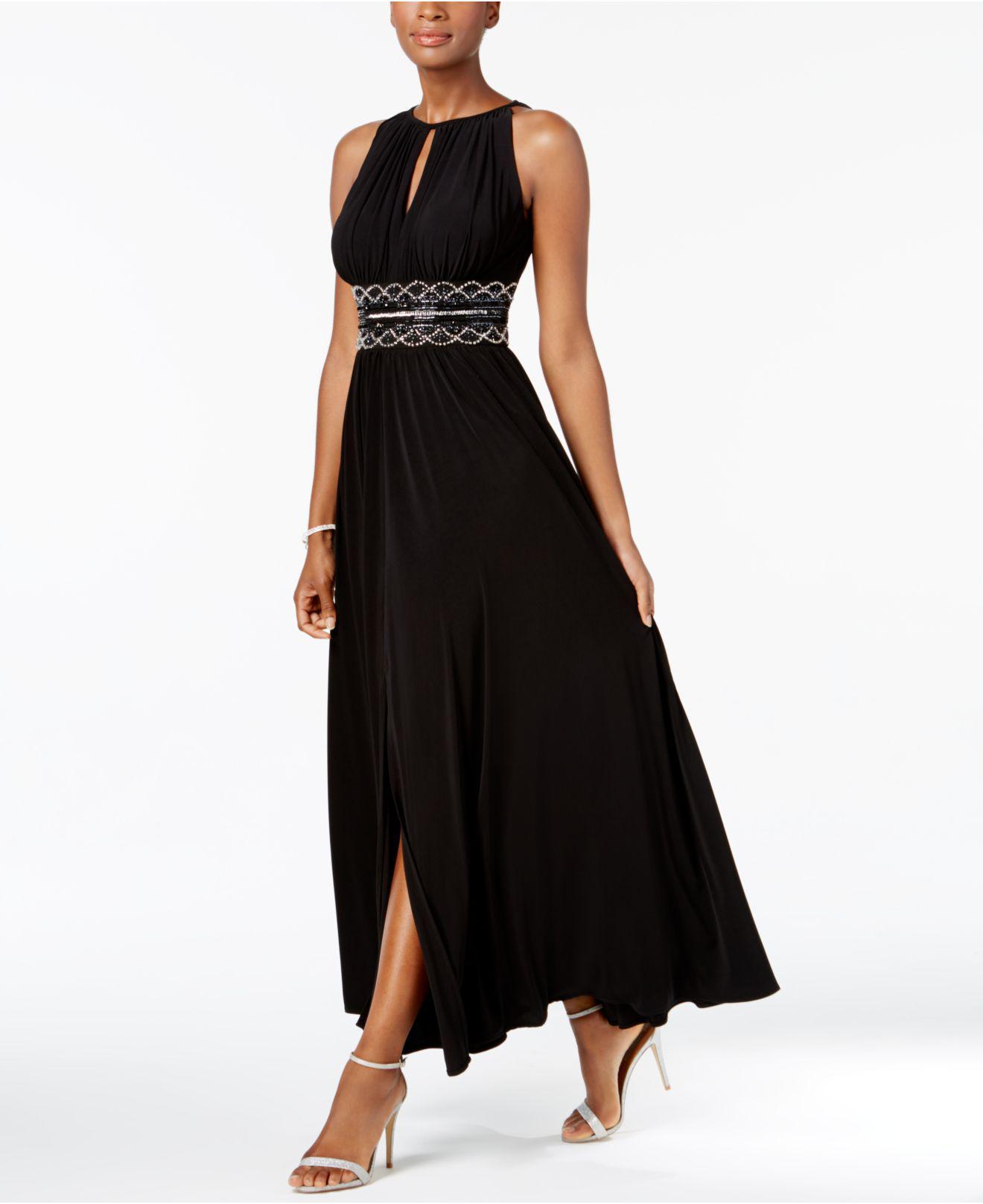Lyst - R & M Richards Dress, Sleeveless Beaded Evening Gown in Black