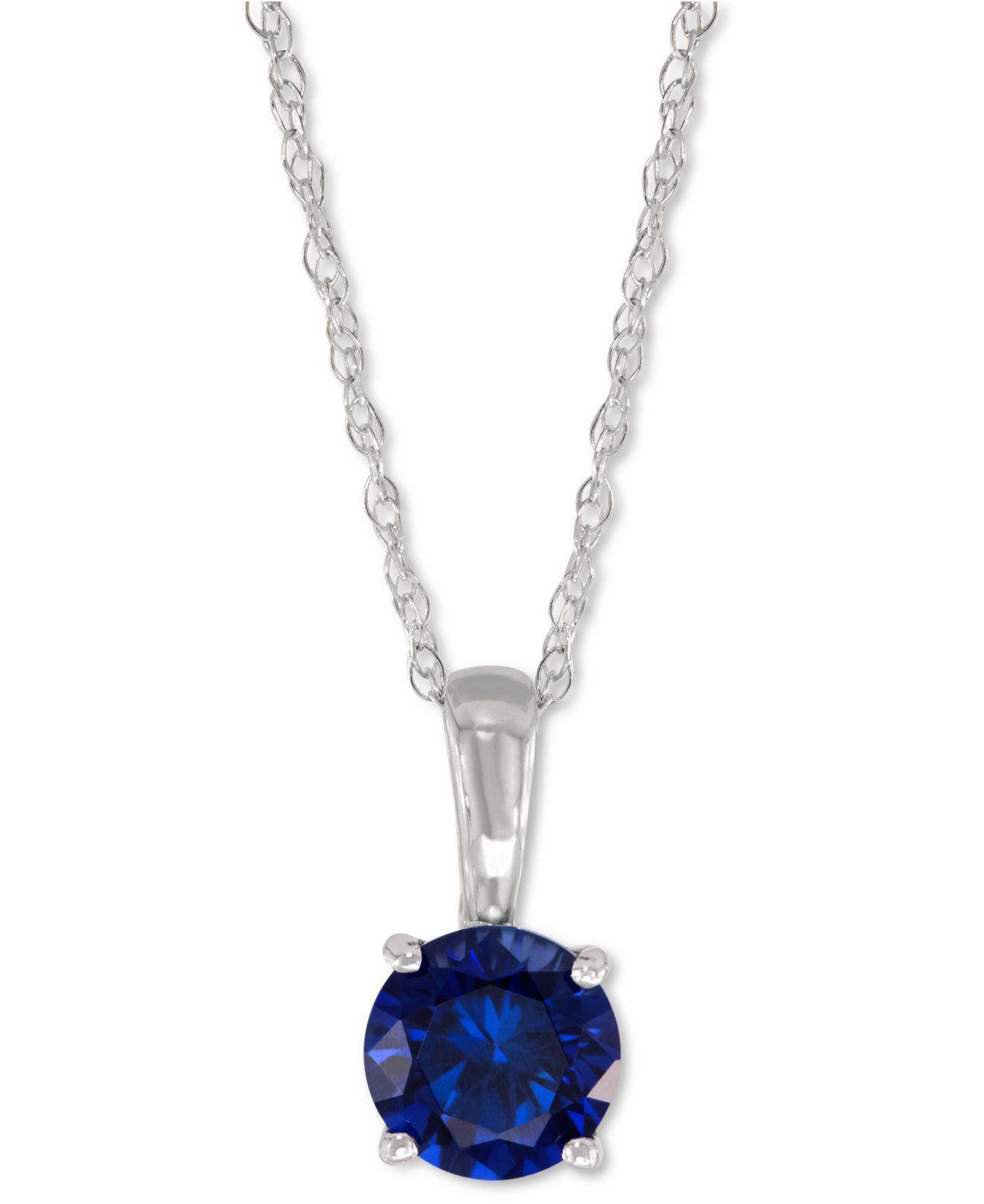Lyst macys lab created sapphire pendant necklace 58 ct tw macys womens metallic lab created sapphire pendant aloadofball Gallery