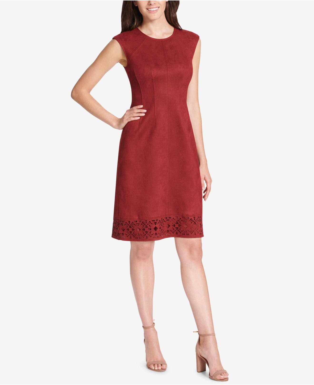 1e1b5537b0 Lyst - Vince Camuto Cutout Faux-suede Shift Dress in Red