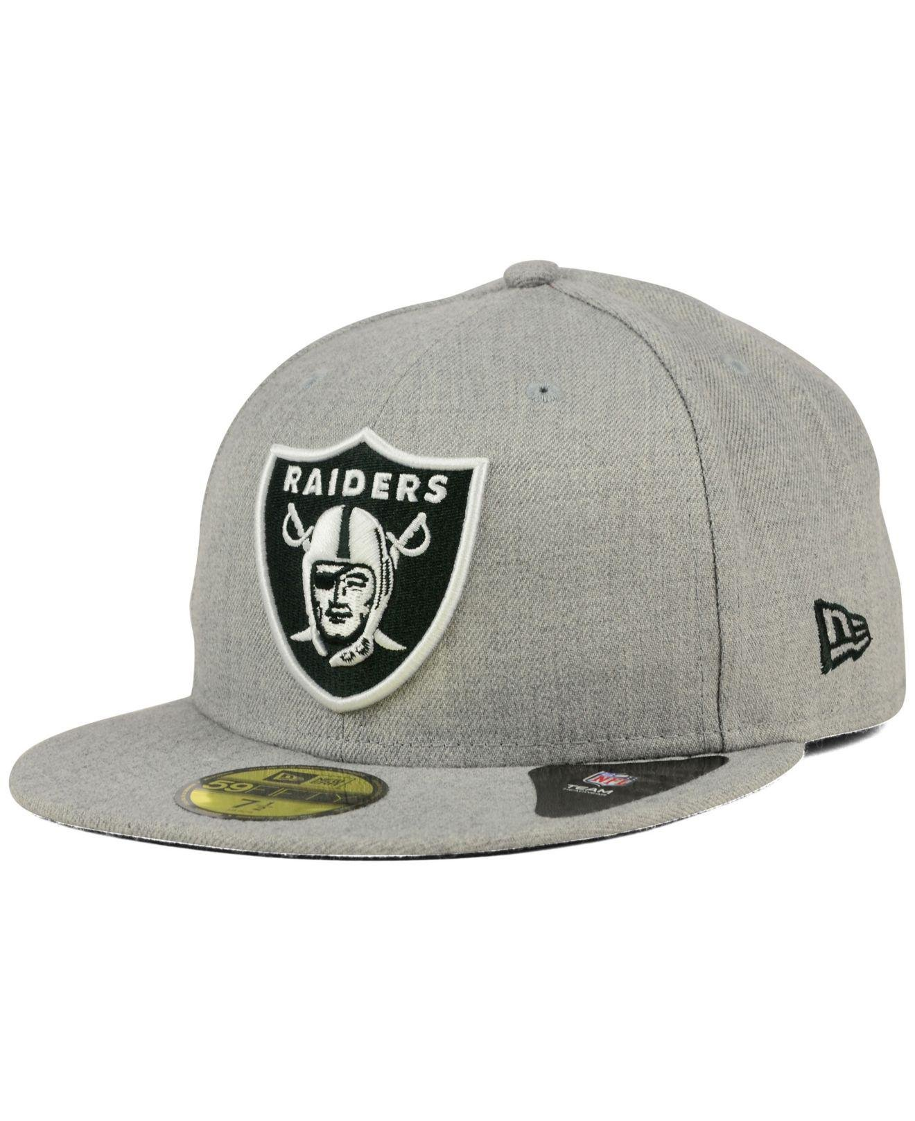 Lyst - KTZ Oakland Raiders Heather Black White 59fifty Cap in Gray ... 6115d3fa77df