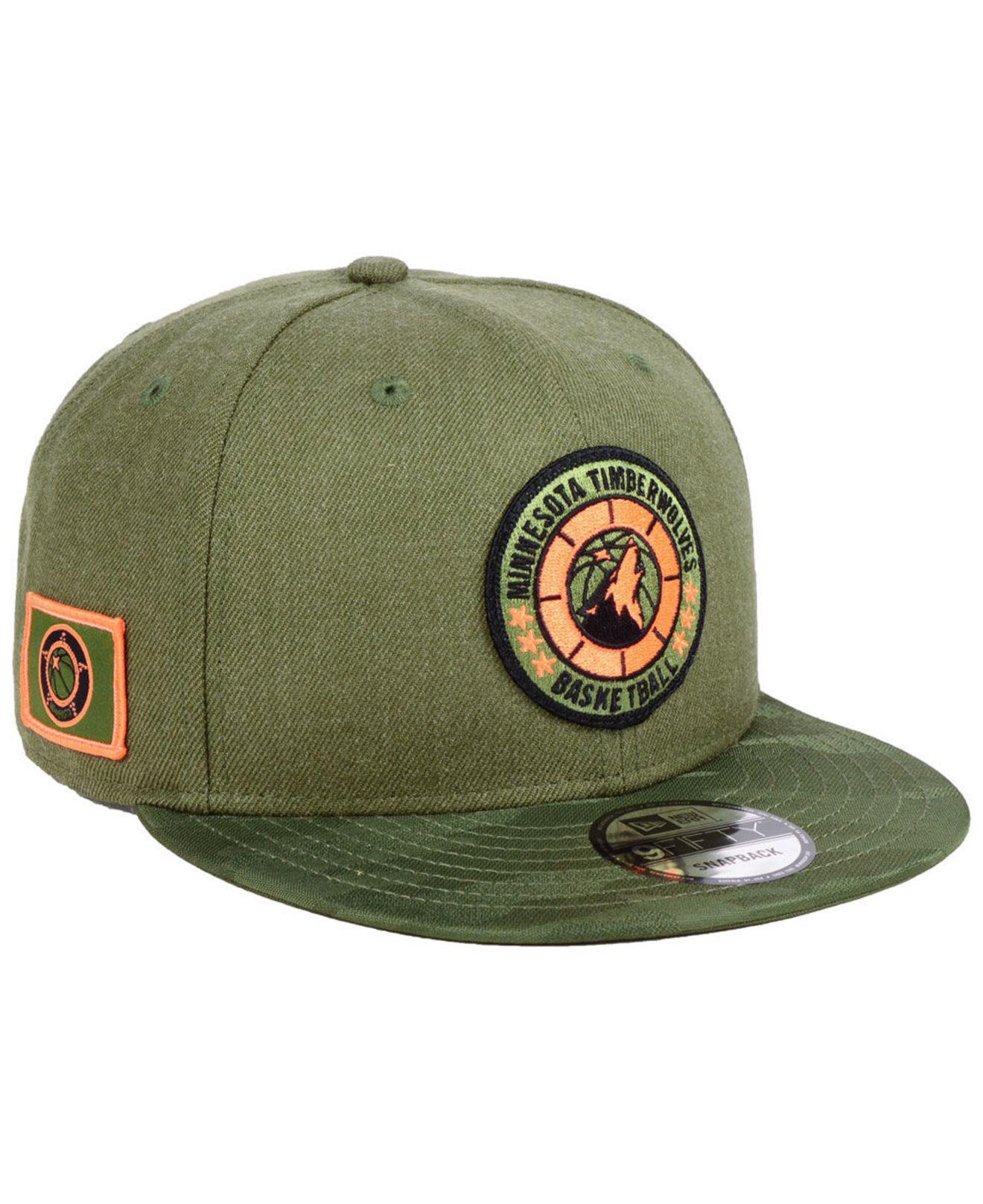 new style b08ee 00a5f KTZ. Men s Green Minnesota Timberwolves Tip Off 9fifty Snapback Cap