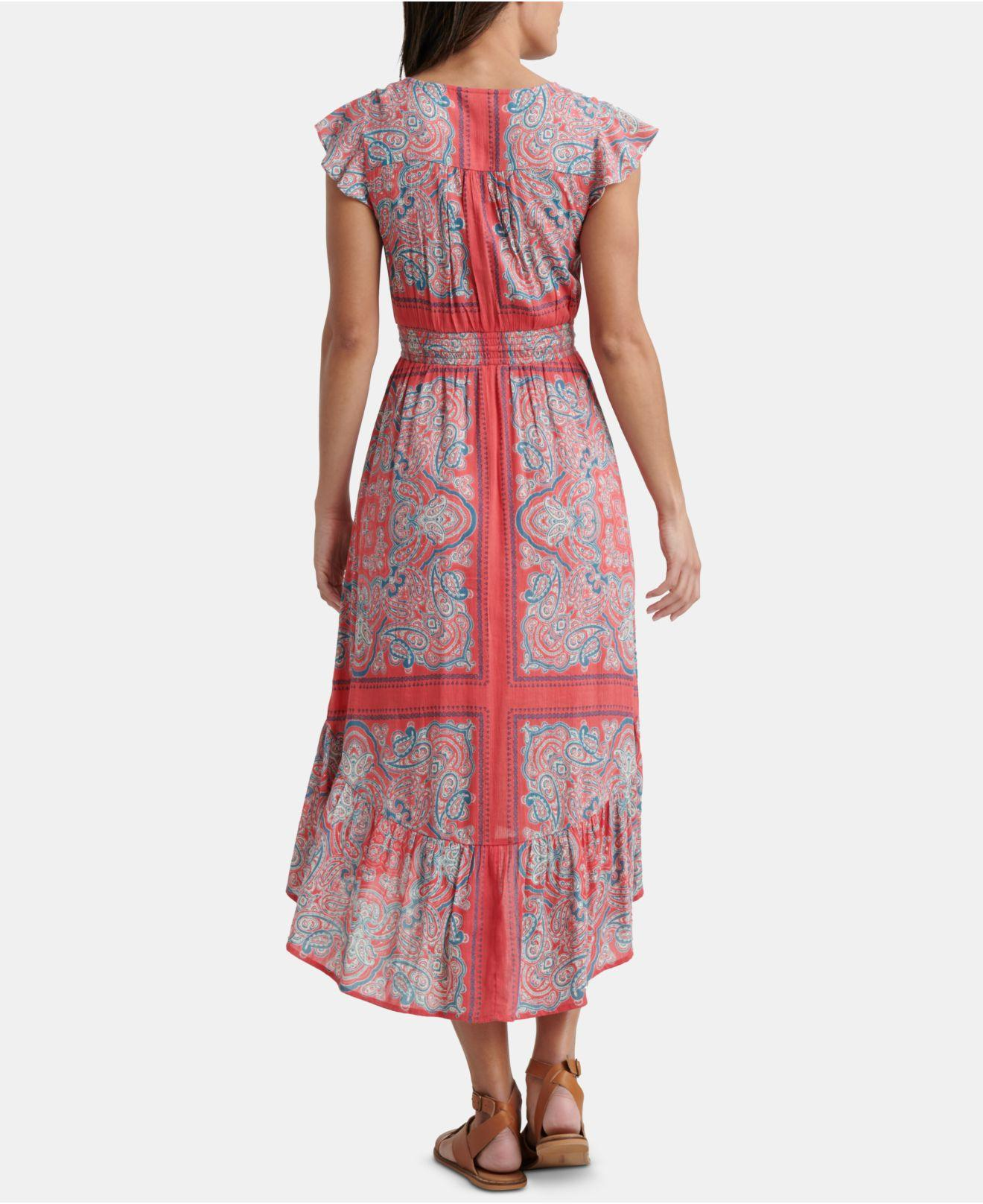 70daca44d0a Lyst - Lucky Brand Felice Printed High-low Dress in Red