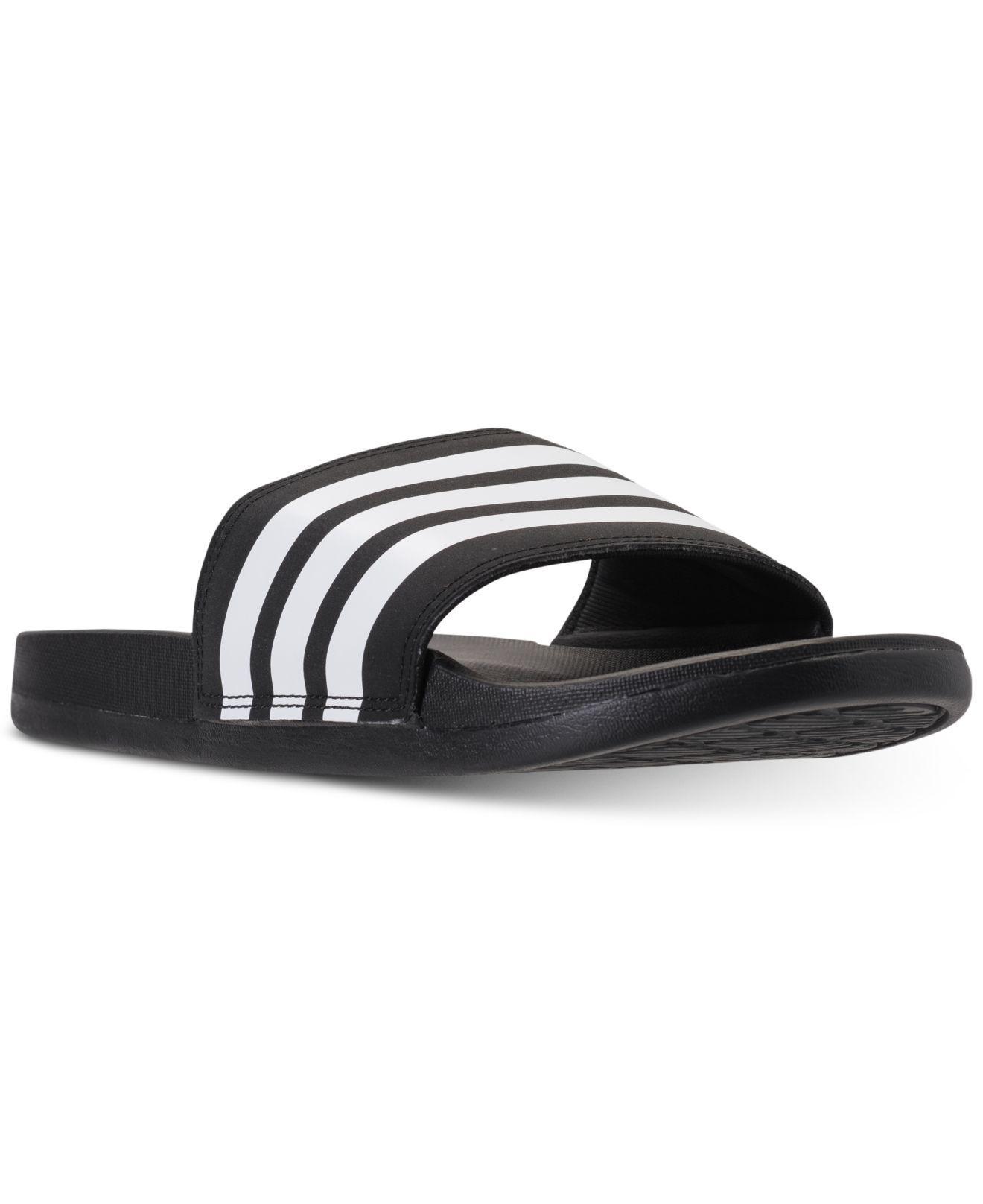 06a631330 Lyst - adidas Adilette Cloudfoam Plus Stripes Slides in Black - Save 45%