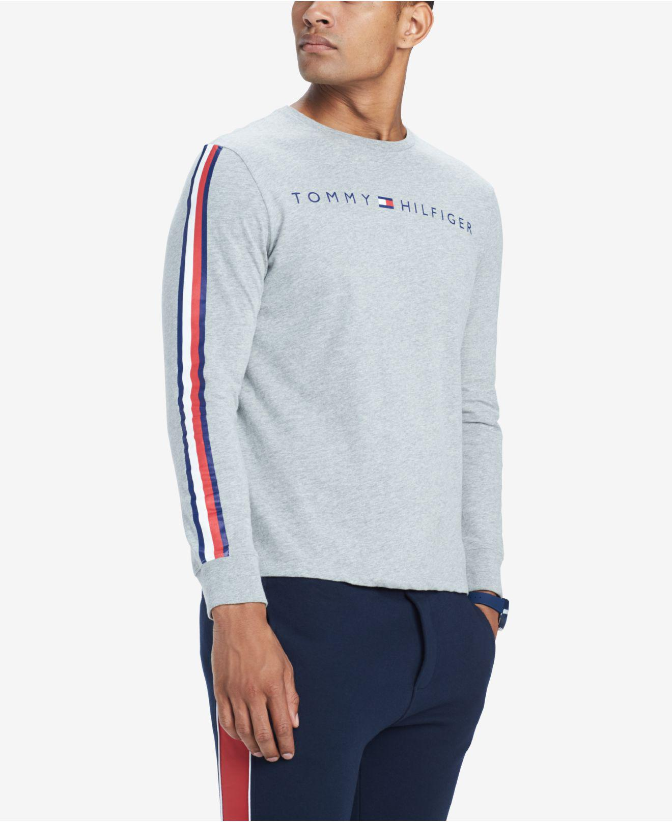 75259ce40a880d Tommy Hilfiger. Men s Gray Knox Stripe-sleeve Logo Graphic T-shirt