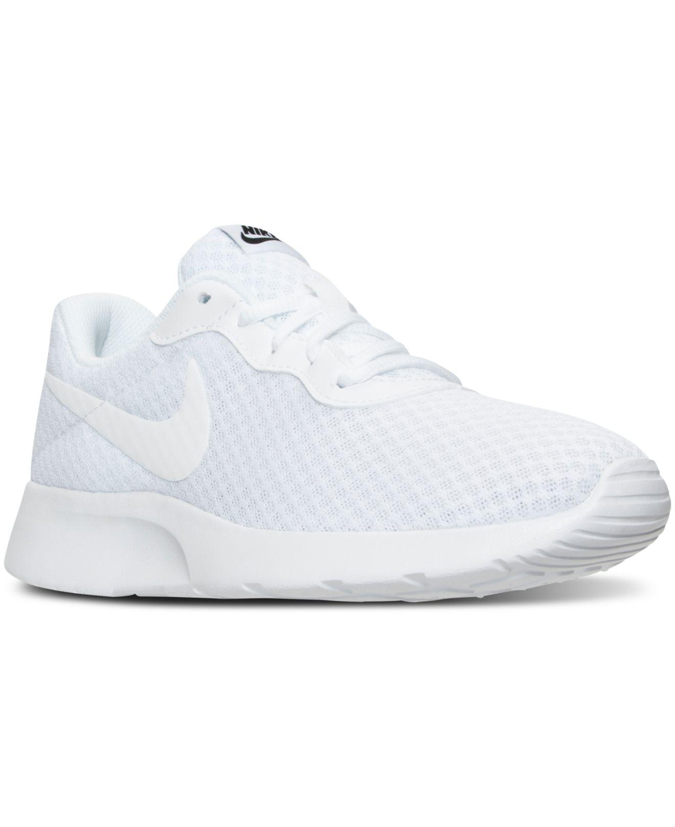 Lyst - Nike Women s Tanjun Casual Sneakers From Finish Line in White 38eb25785d