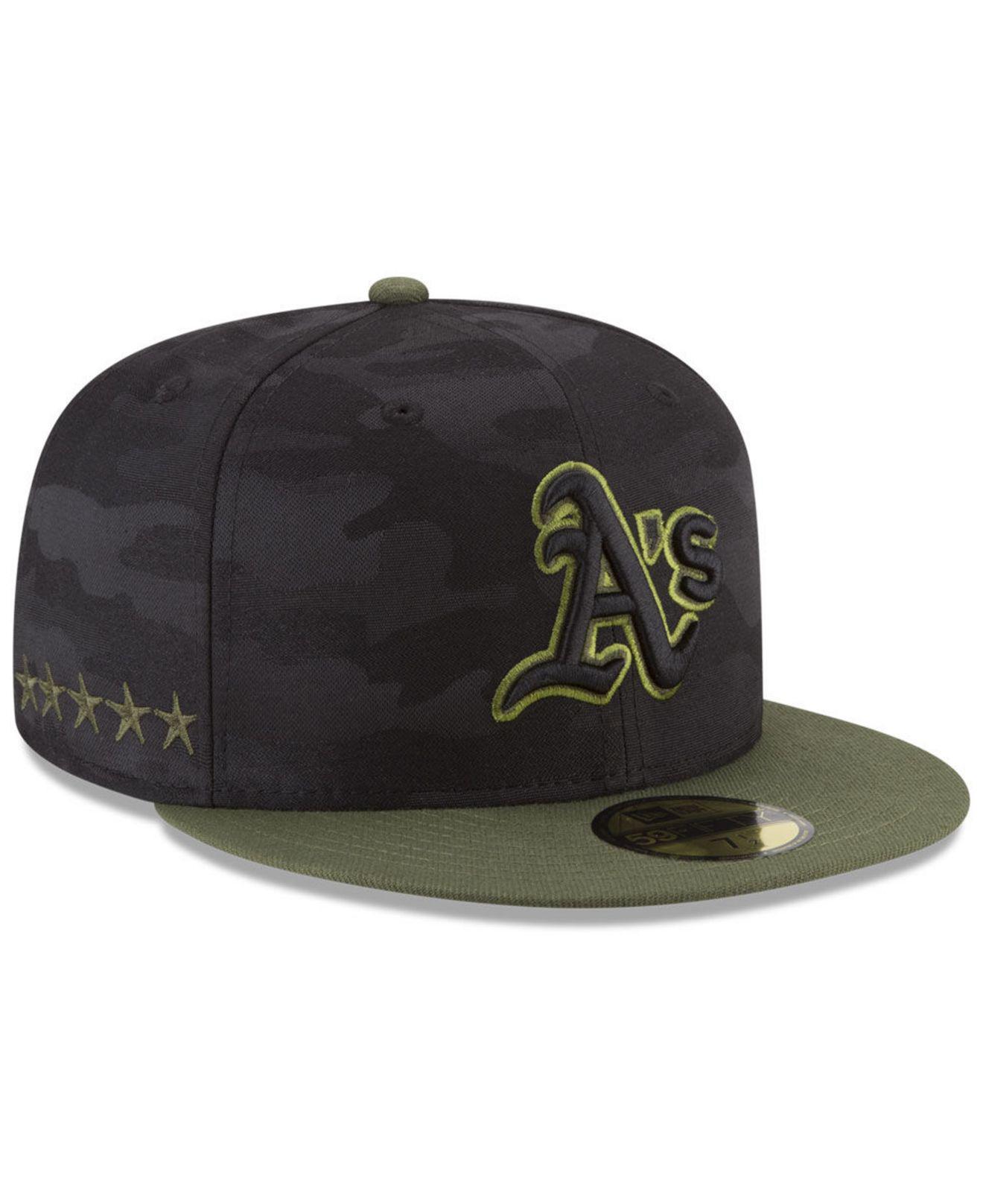 best website 4e8b1 64b22 KTZ. Men s Black Oakland Athletics Memorial Day 59fifty Fitted Cap