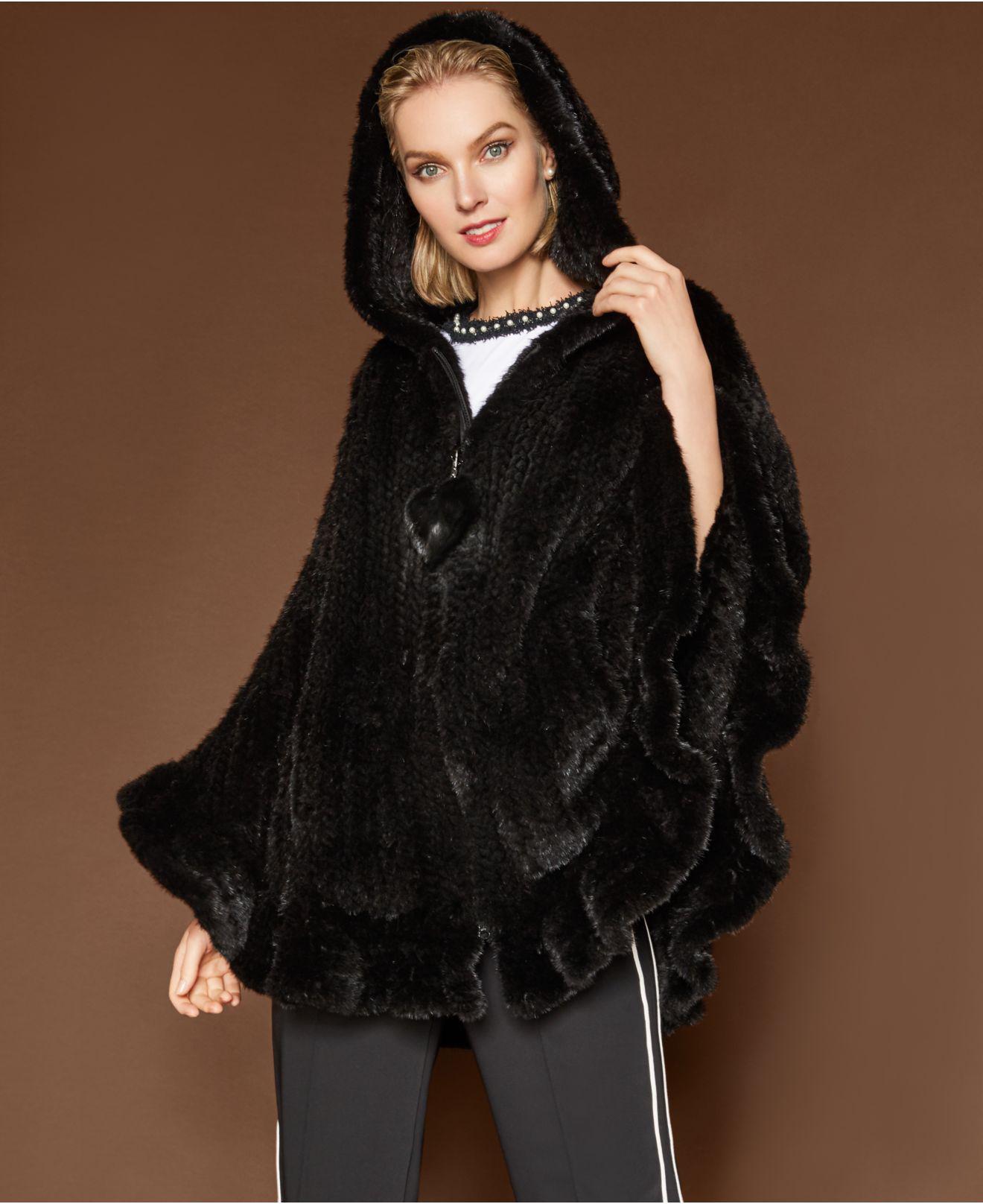13f6c272fd1 Lyst - The Fur Vault Hooded Mink Fur Cape in Black