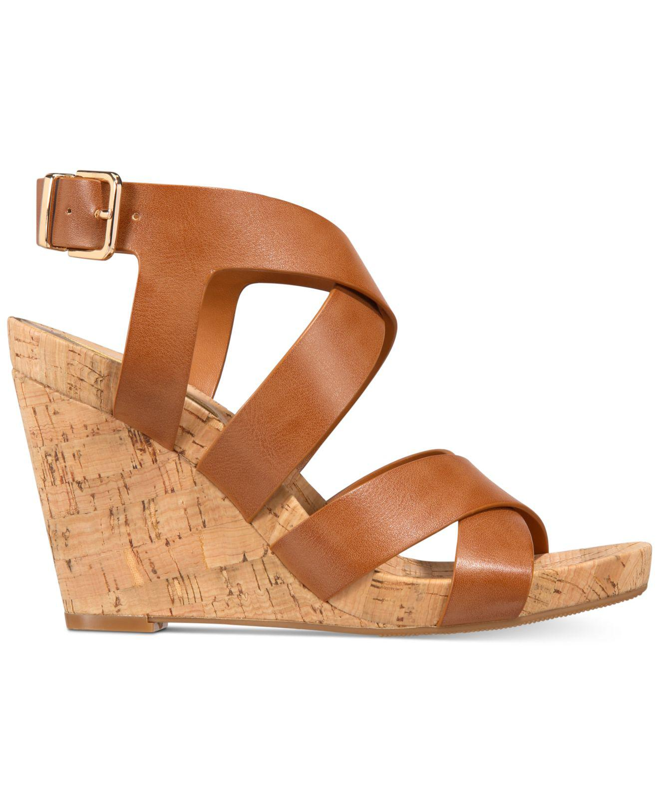70ab1579605e Lyst - INC International Concepts Women s Landor Strappy Wedge Sandals in  Brown
