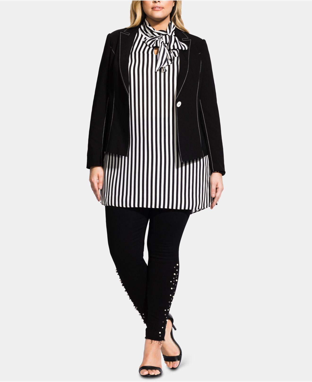 f91f88fb695f4 Lyst - City Chic Plus Size Stitch-detail Jacket in Black