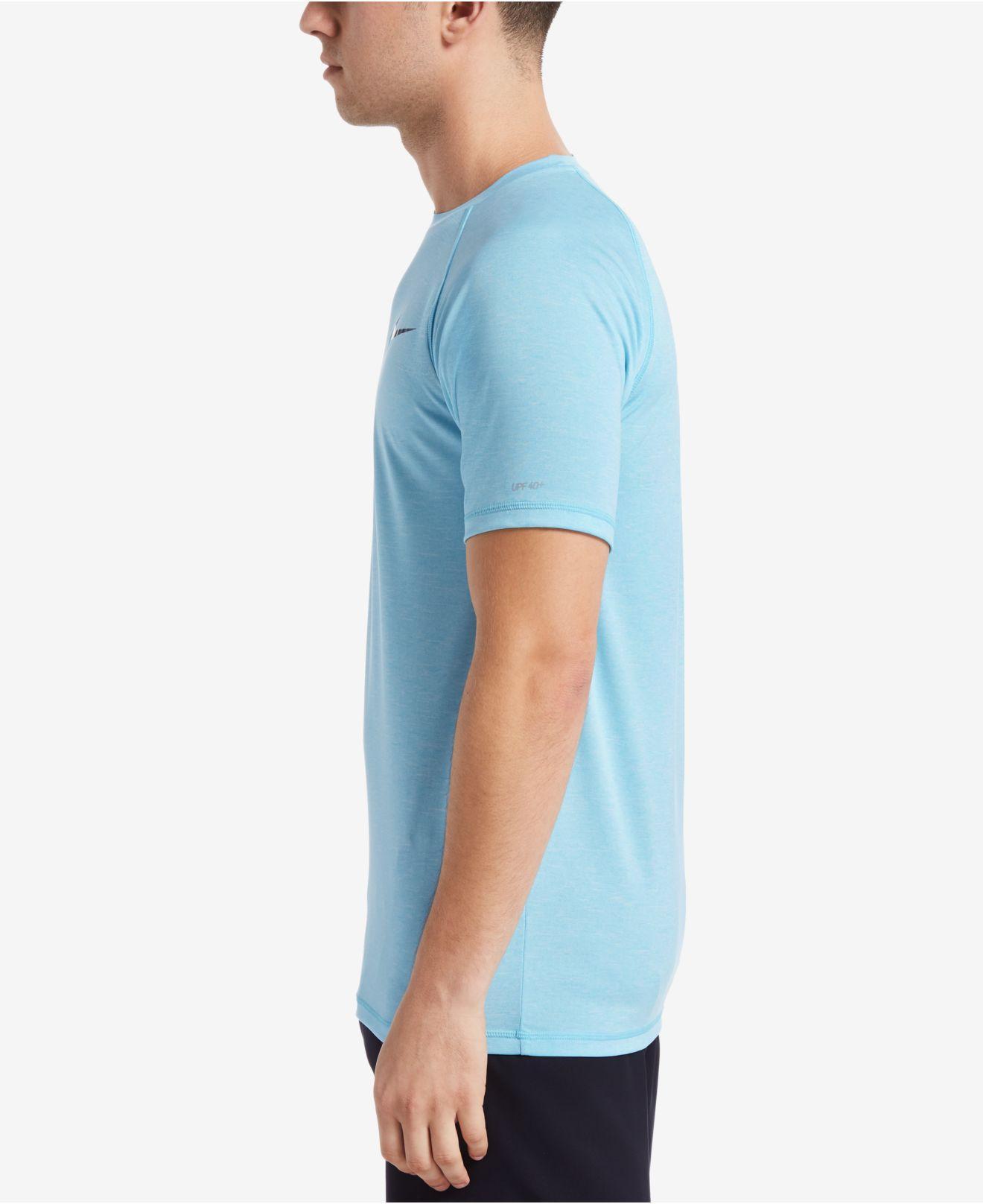 85babaec Nike - Blue Big & Tall Dri-fit Heather Hydroguard Upf 40 Rashguard Swim Tee.  View fullscreen