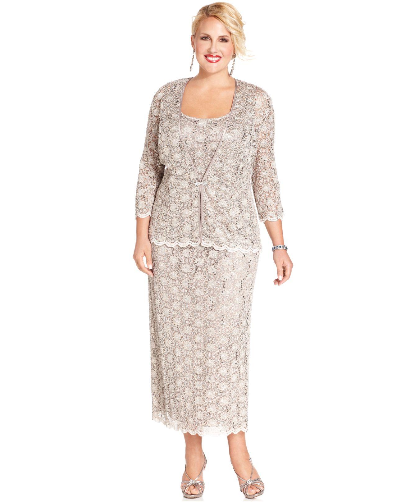 R & m richards Plus Size Dress And Jacket, Sleeveless Sequined ...