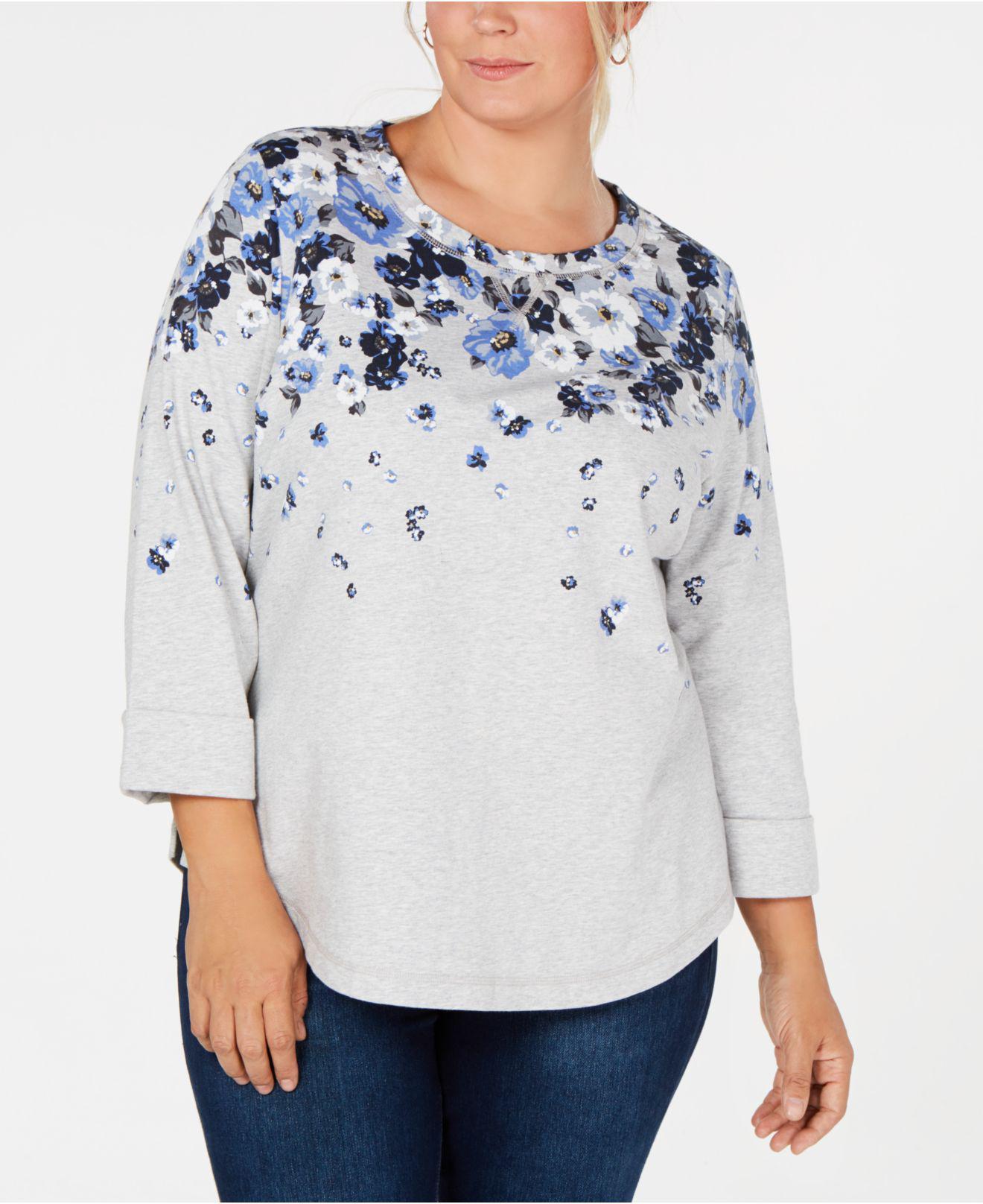 637cdfa9cd3 Karen Scott. Women s Gray Plus Size Floral-print Top ...