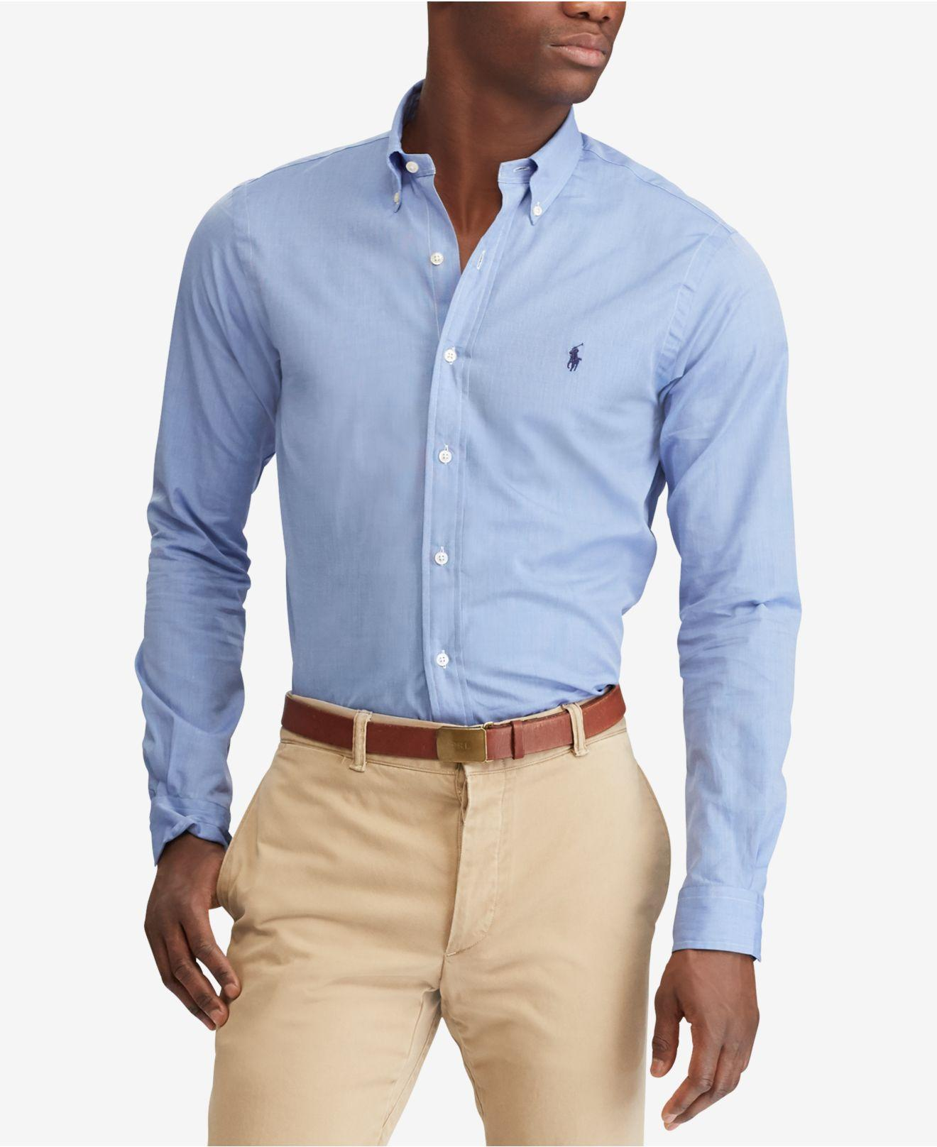 4ed00061d41 Lyst - Polo Ralph Lauren Slim Fit Poplin Stretch Shirt in Blue for Men