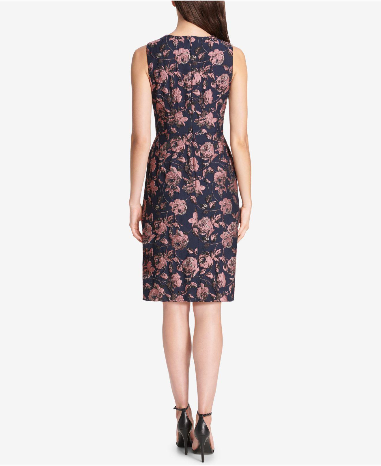 4937cf60949 Lyst - Vince Camuto Floral Ruffled Jacquard A-line Dress in Blue