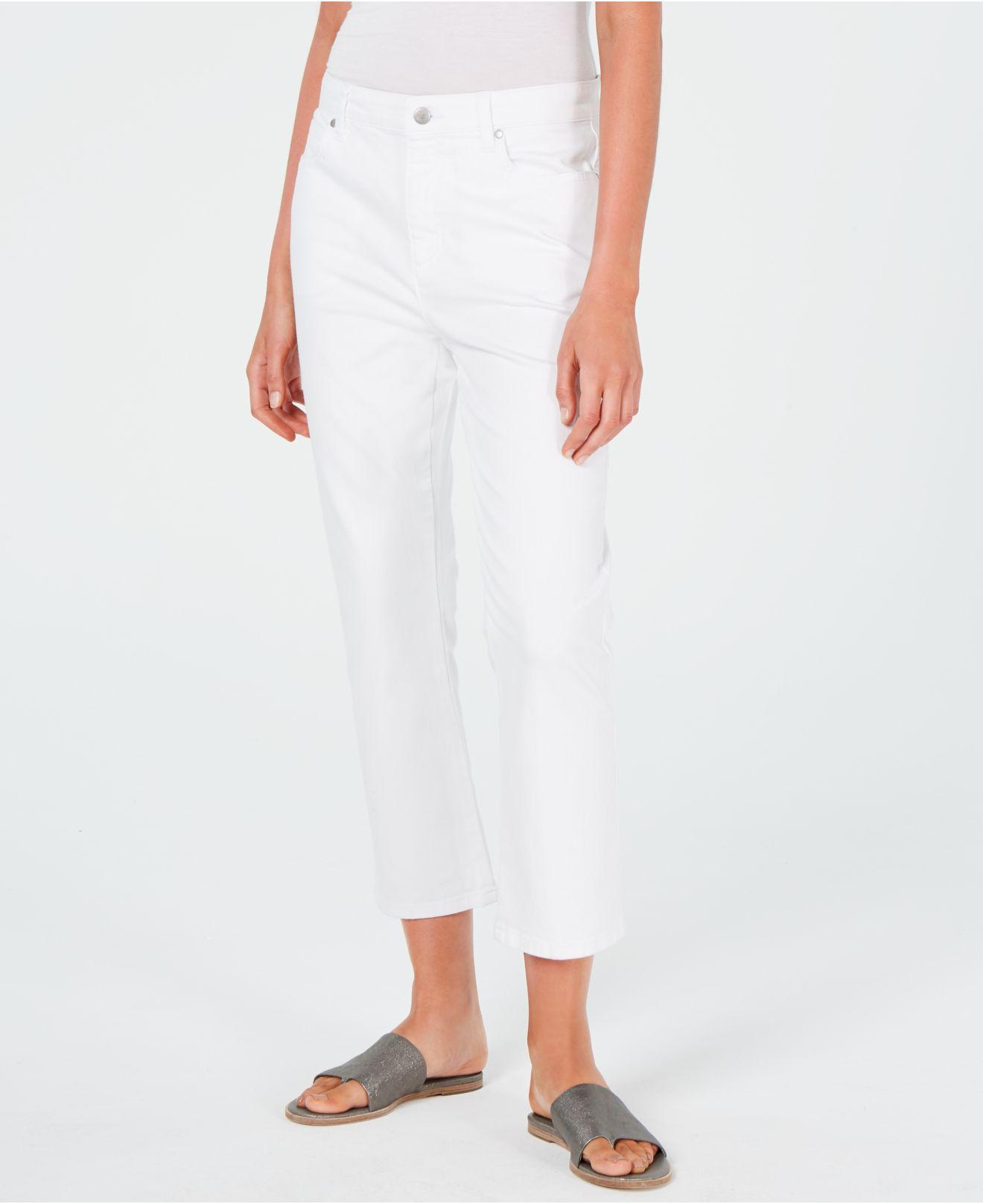 292b6ef7a2 Eileen Fisher. Women s White Cropped Organic Cotton Jeans