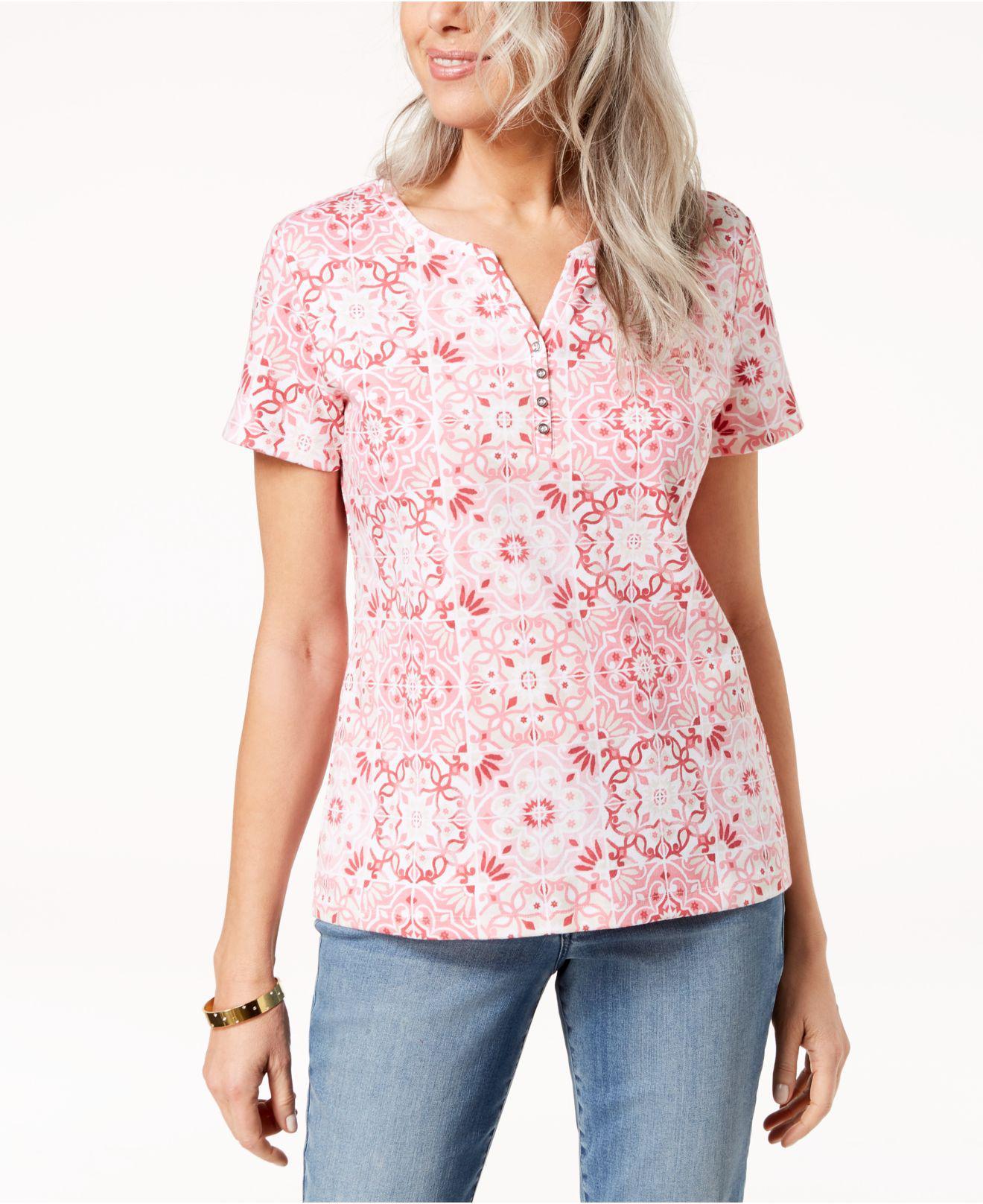 f43c0ebdfc08b Lyst - Karen Scott Printed Henley T-shirt
