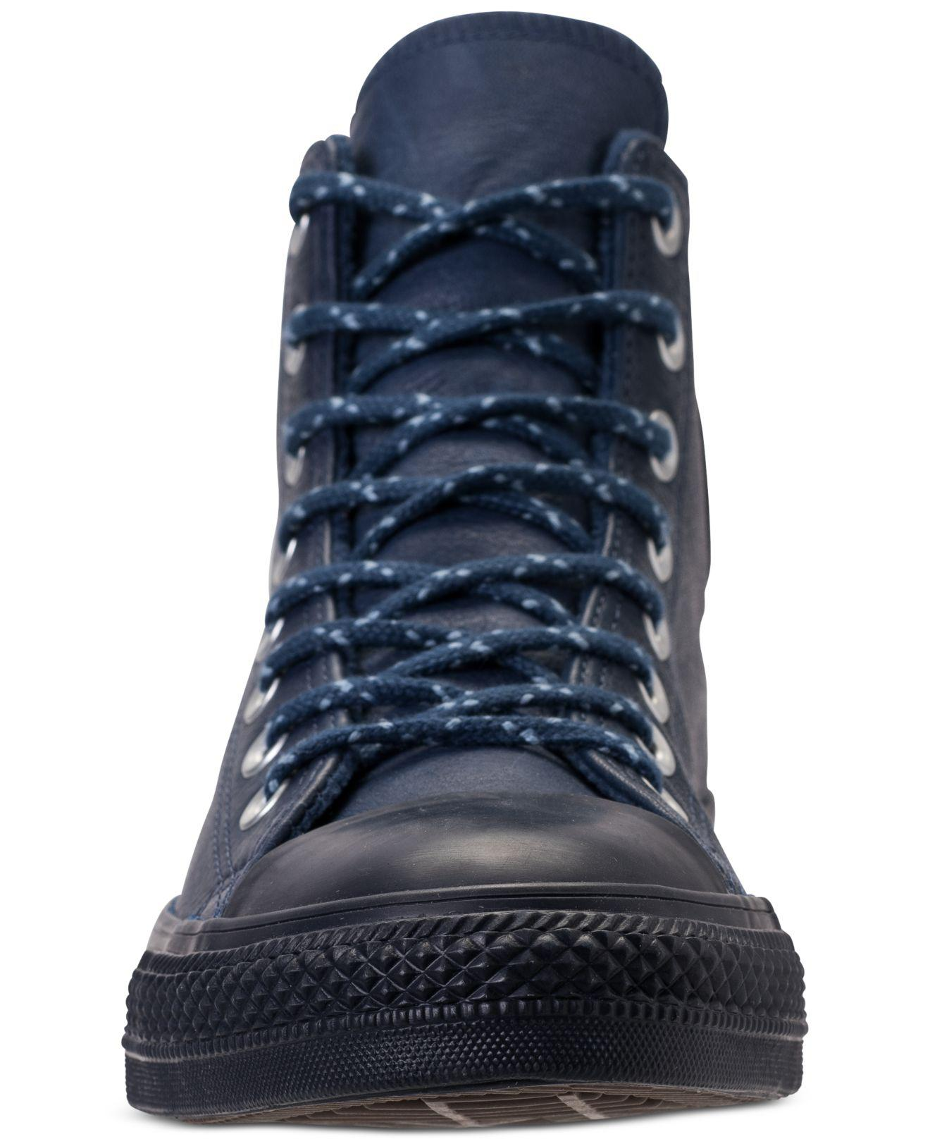 479f14bec3f0 Lyst - Converse Chuck Taylor All Star Leather High Top Casual Sneakers From  Finish Line in Blue for Men