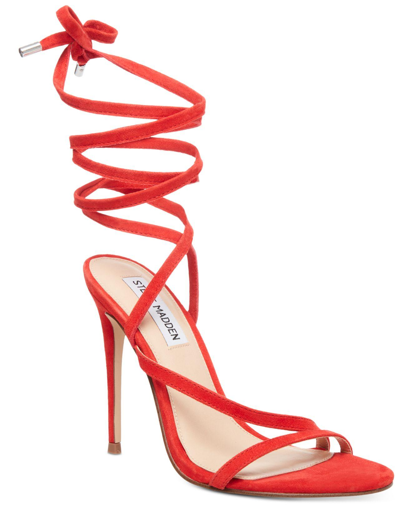 fb4fe75b6b89 Lyst - Steve Madden Amberlyn Tie-up Dress Sandals in Red