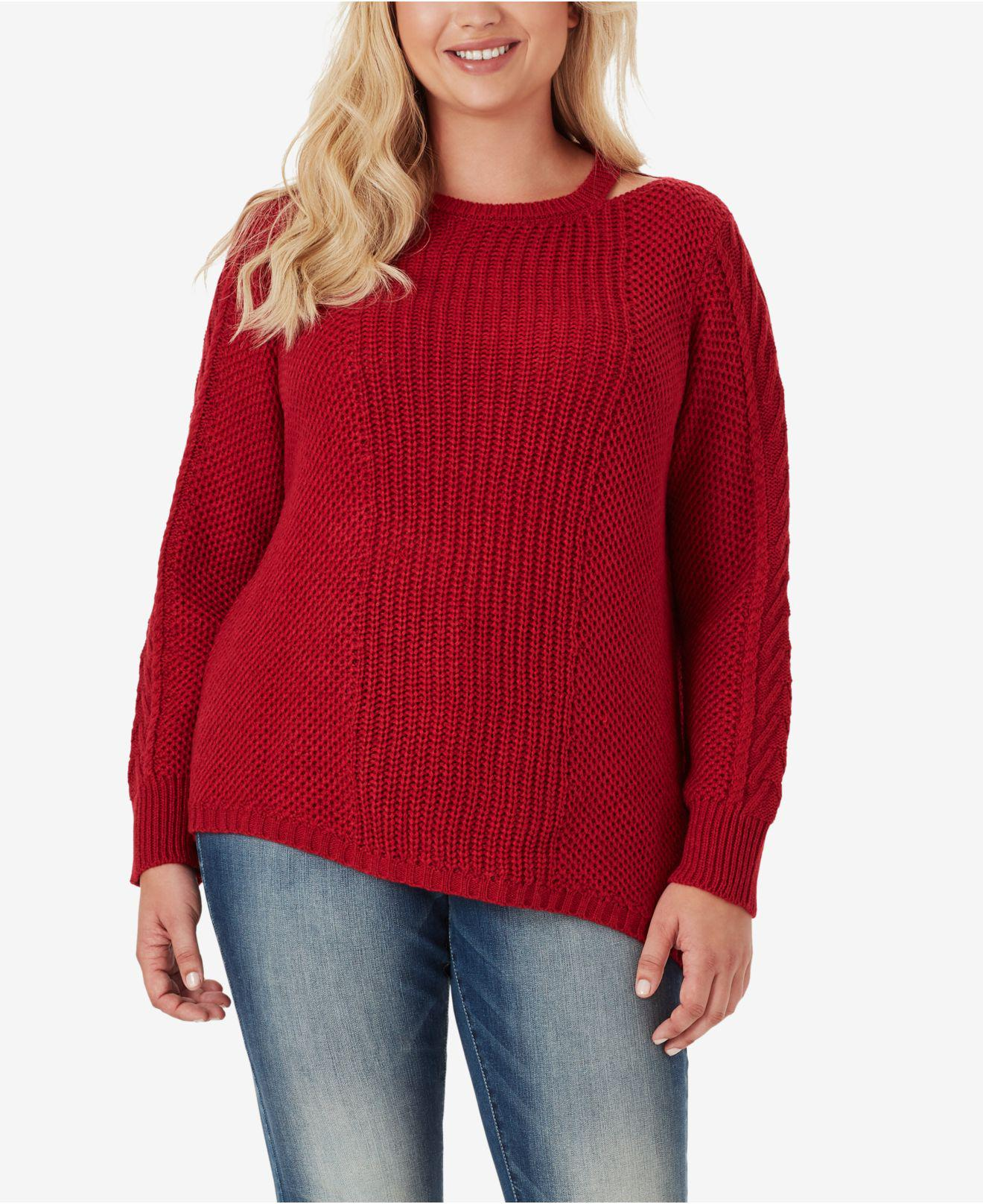 7ec7197df5e Lyst - Jessica Simpson Trendy Plus Size Oasis Cutout-neck Sweater in Red