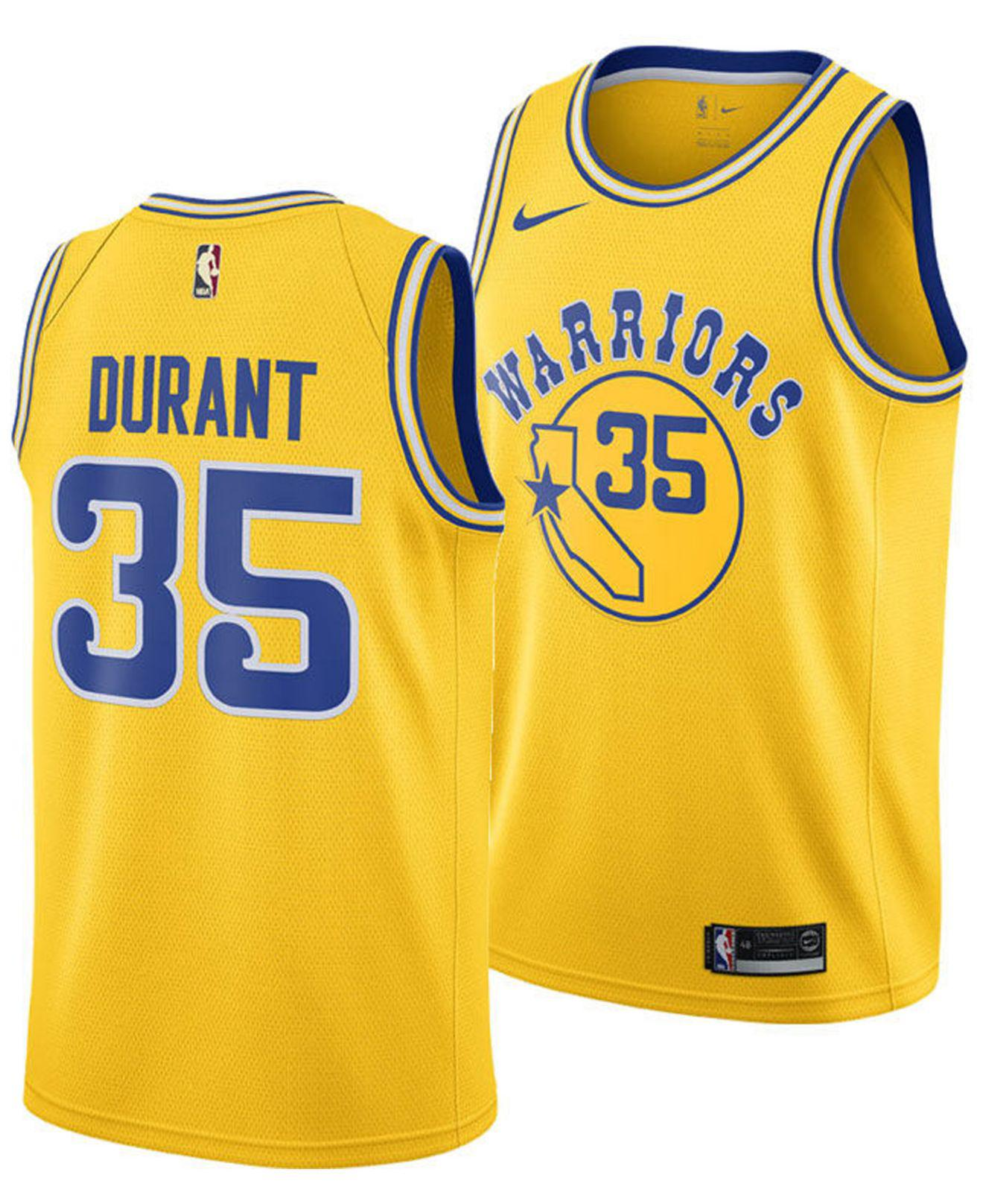 629f176d6 Nike. Men s Yellow Kevin Durant Golden State Warriors Hardwood Classic  Swingman Jersey