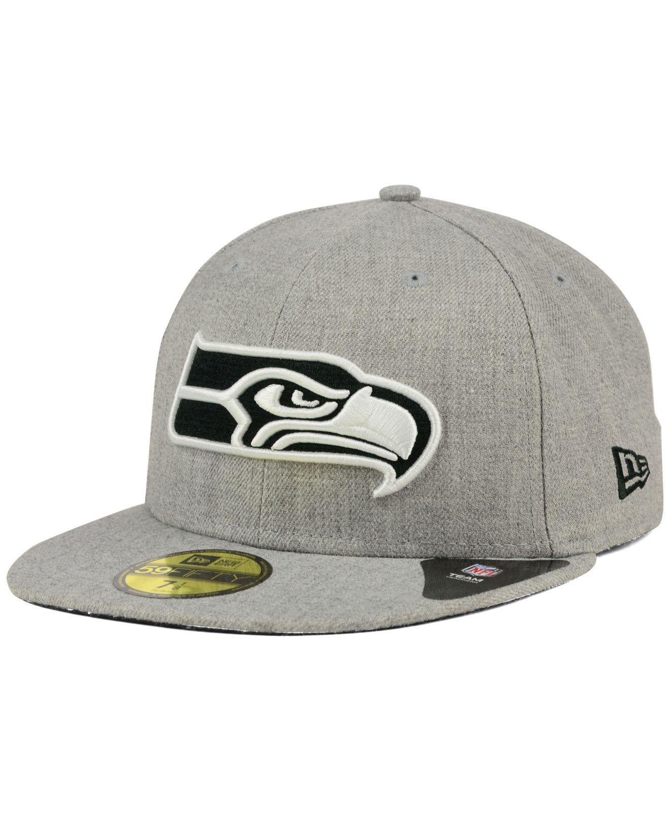 Lyst - KTZ Seattle Seahawks Heather Black White 59fifty Cap in Gray ... c0b64aaa90c3