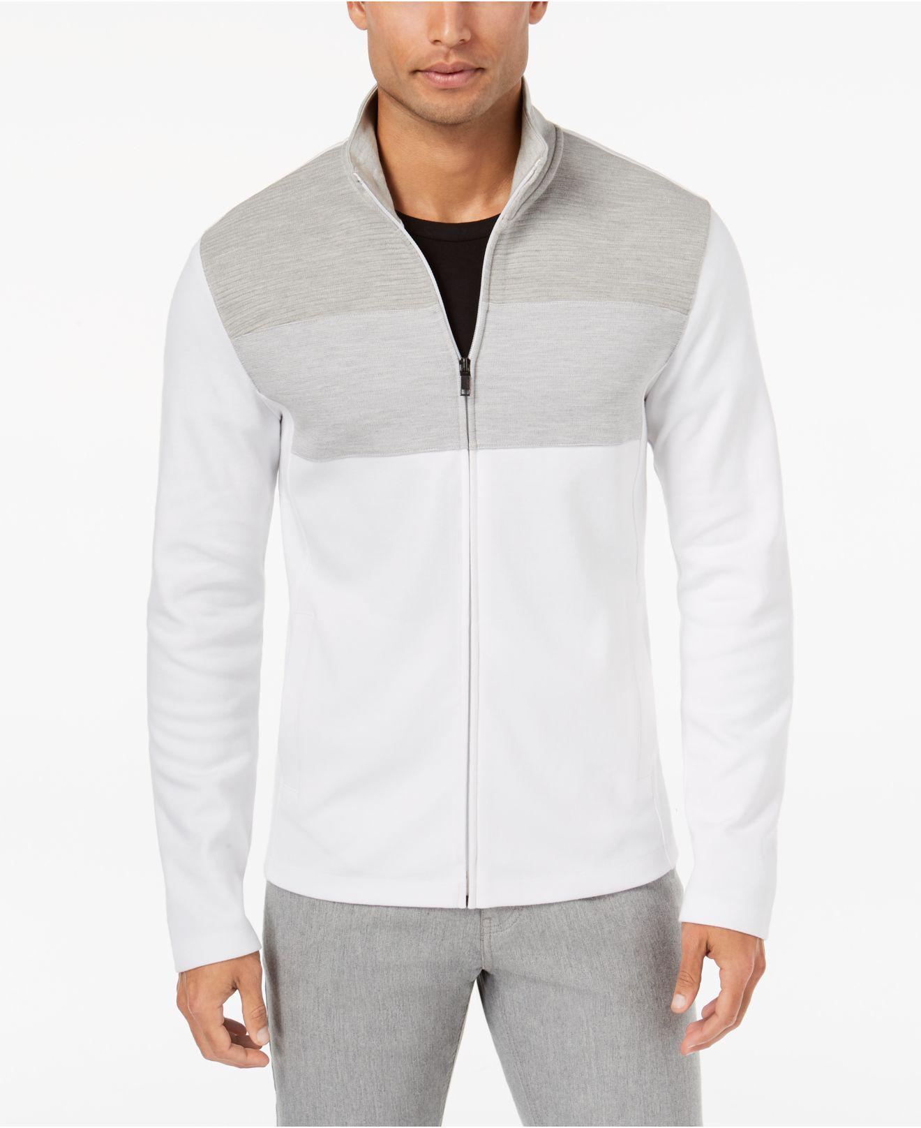 alfani s colorblocked zip jacket in white for
