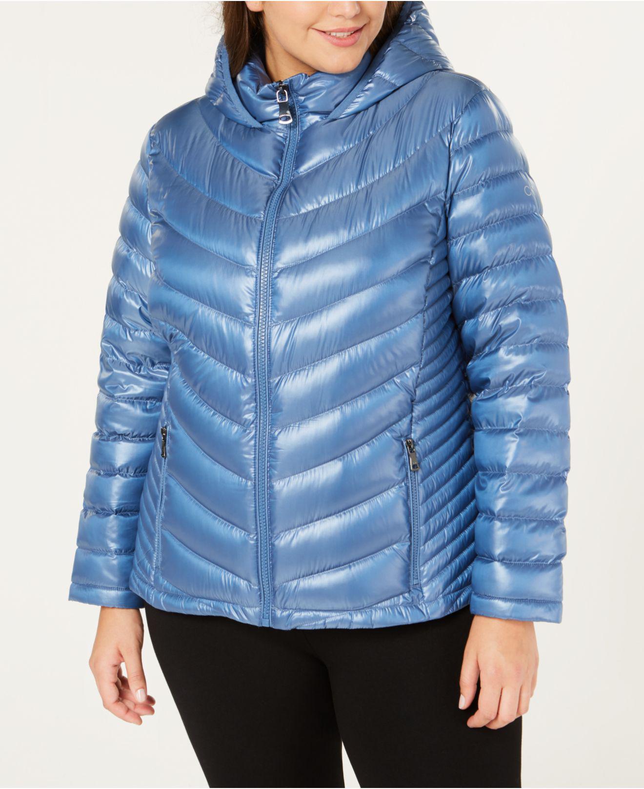 e716c26b7d7 Lyst - Calvin Klein Plus Size Hooded Down Puffer Coat in Blue