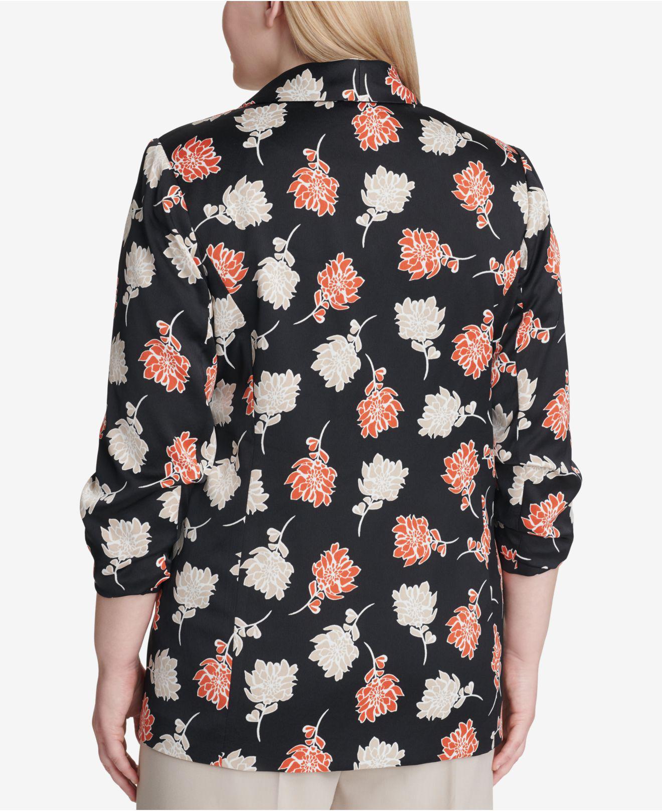 0c73d6e37d8c2 Lyst - Calvin Klein Floral Printed Blazer