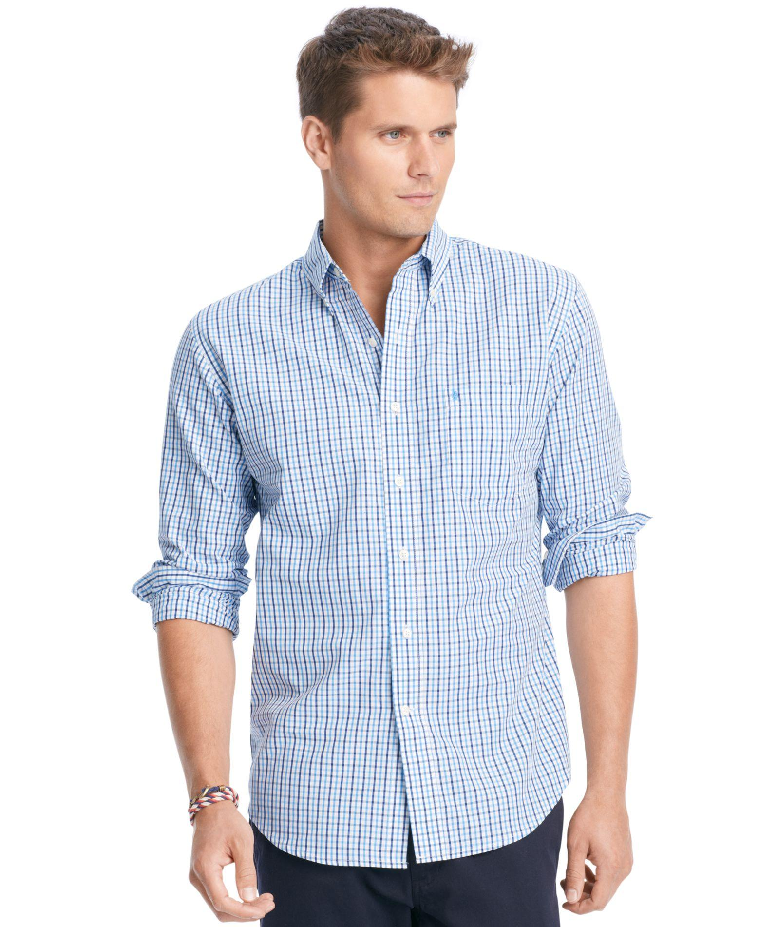 Izod tattersall button down shirt in blue for men lyst for Izod button down shirts