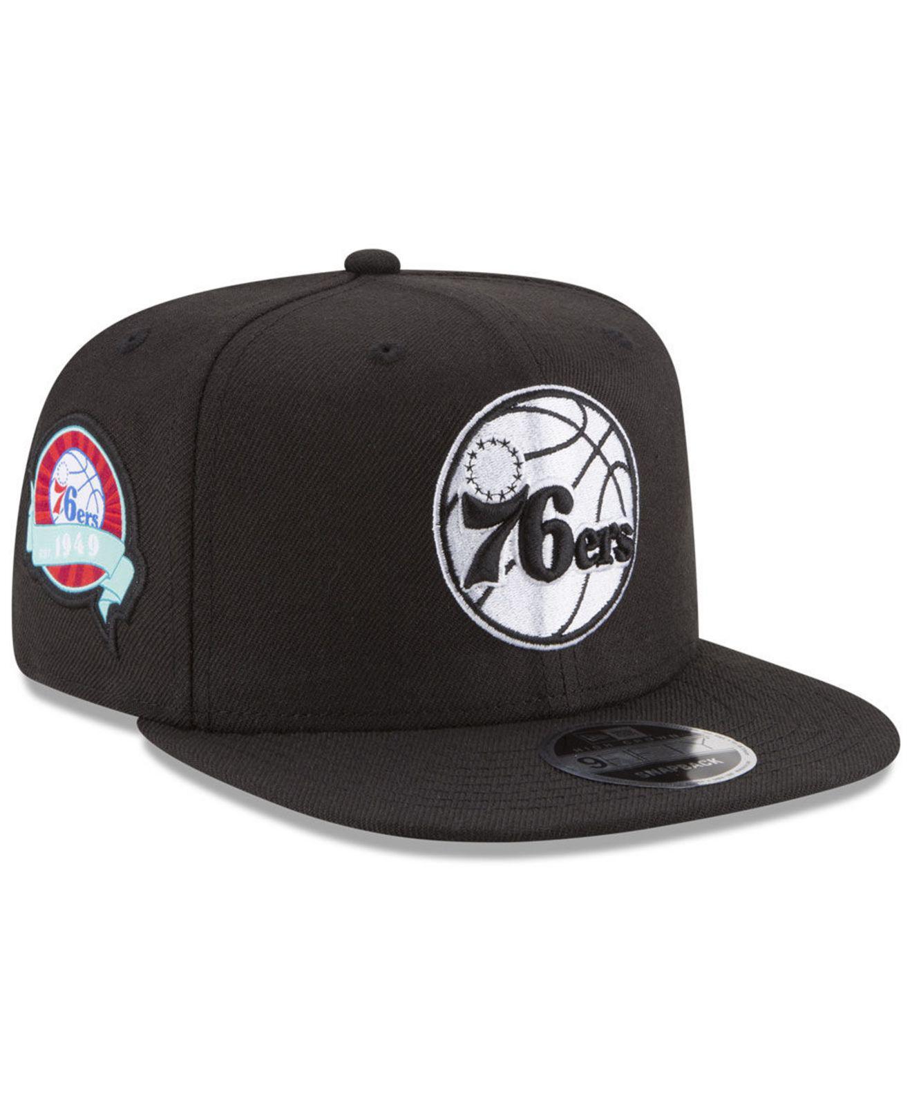 promo code 68ca0 3aa33 KTZ. Men s Black Philadelphia 76ers Anniversary Patch 9fifty Snapback Cap
