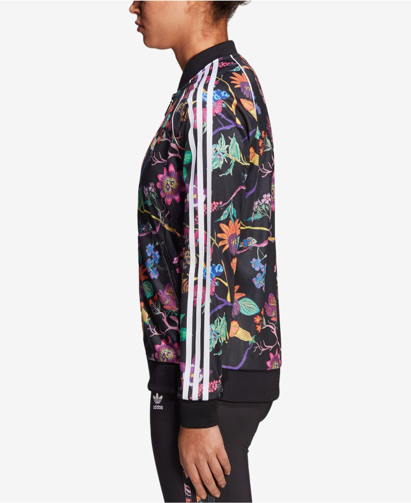 dd6eb1a41d3 adidas Originals Garden Print Track Jacket in Black - Lyst