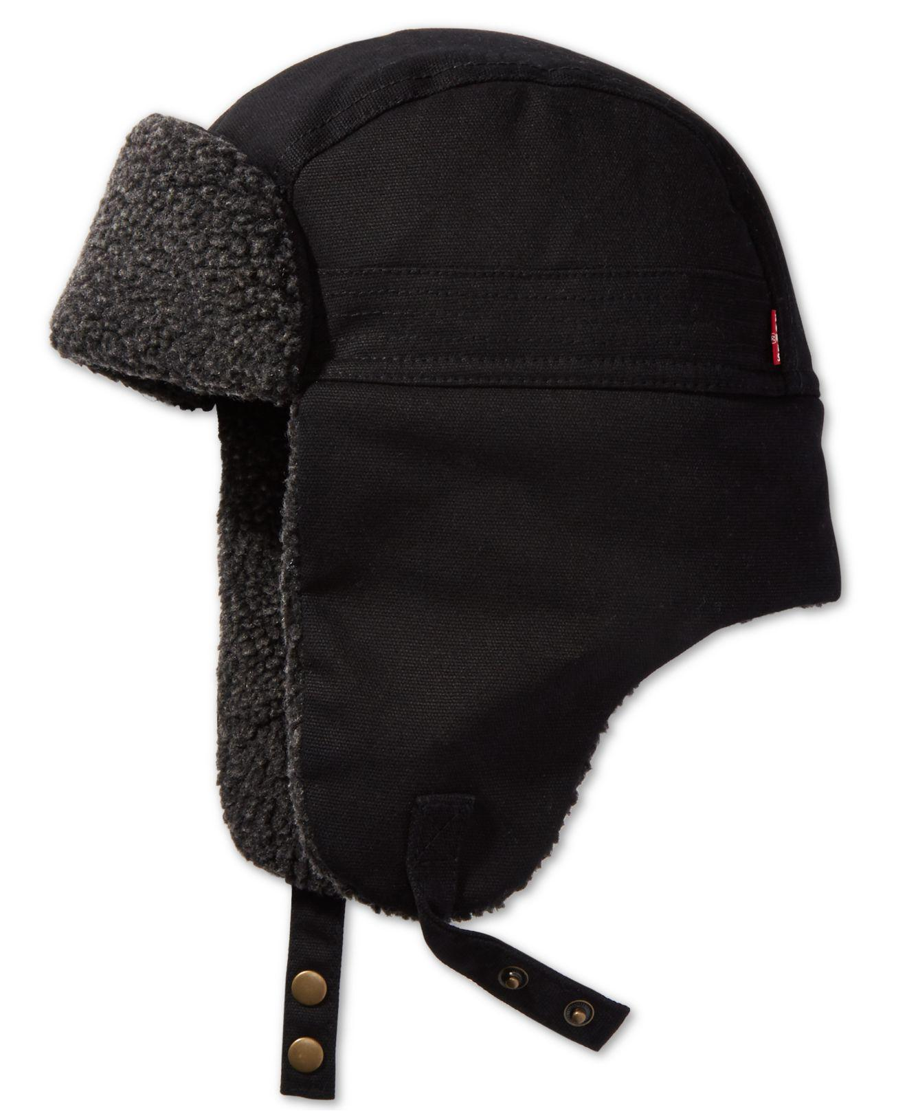 3a79eb93 Lyst - Levi's Waxed Canvas Trapper Hat in Black for Men
