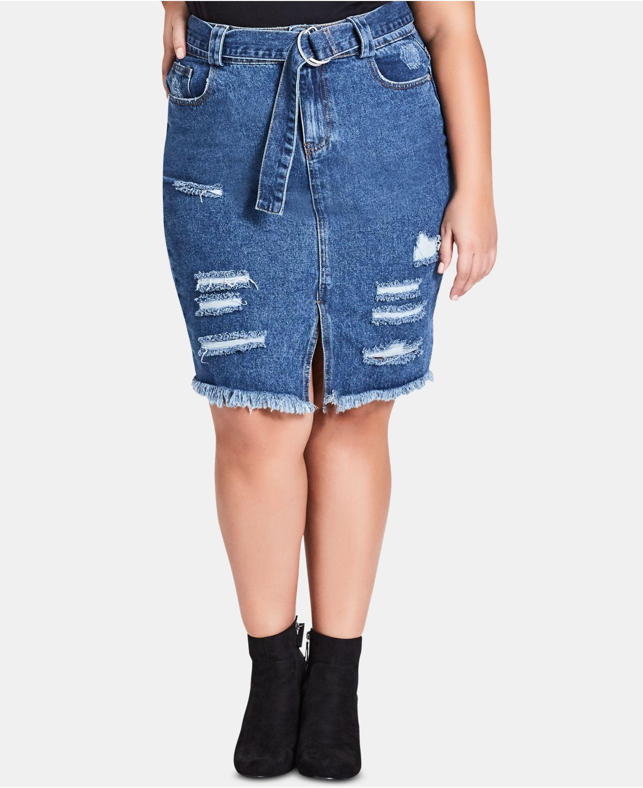67c3028500d2a Lyst - City Chic Trendy Plus Size Cotton Ripped Denim Skirt in Blue