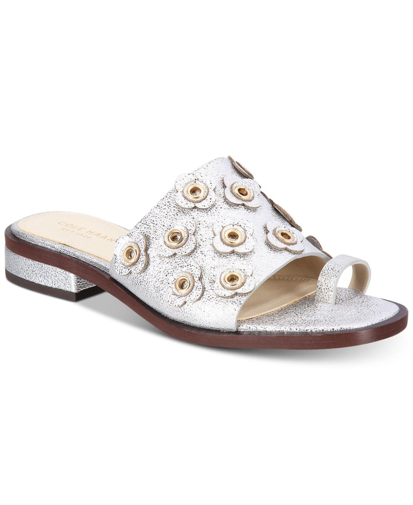 91d0a074d91 Cole Haan Carly Floral Sandals in Metallic - Lyst