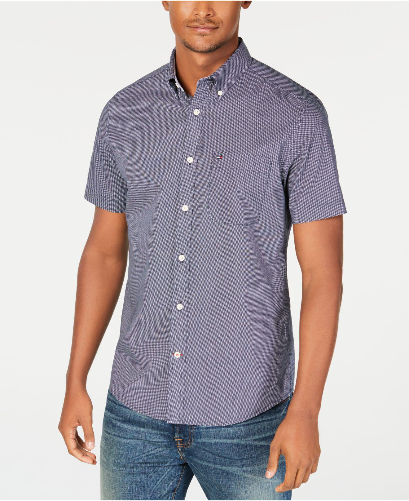 9e690b87 Lyst - Tommy Hilfiger Lucien Custom-fit Piece-dyed Print Shirt ...