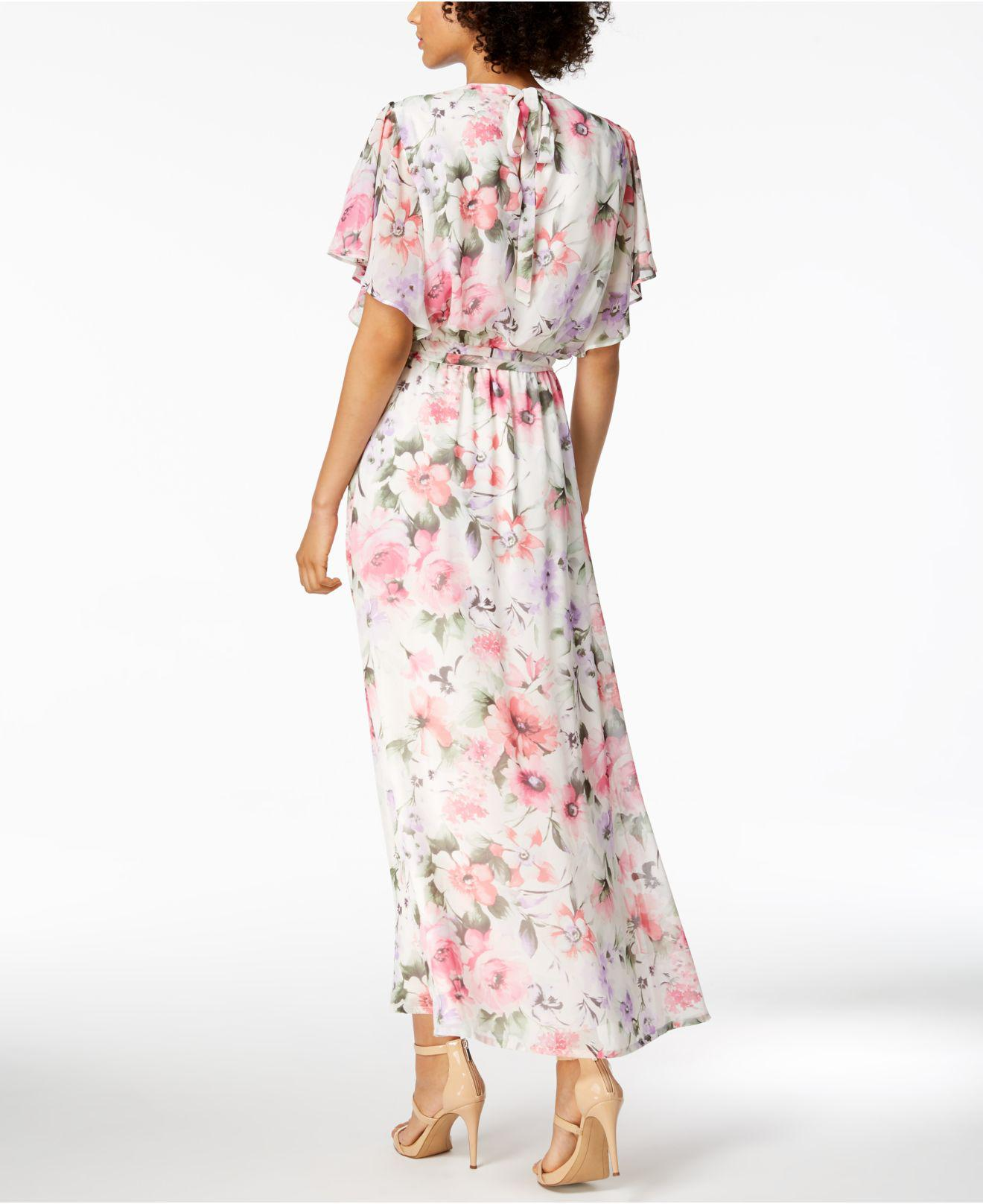 c739146c2e9 Lyst - Nine West Floral-print Belted Maxi Dress in Pink