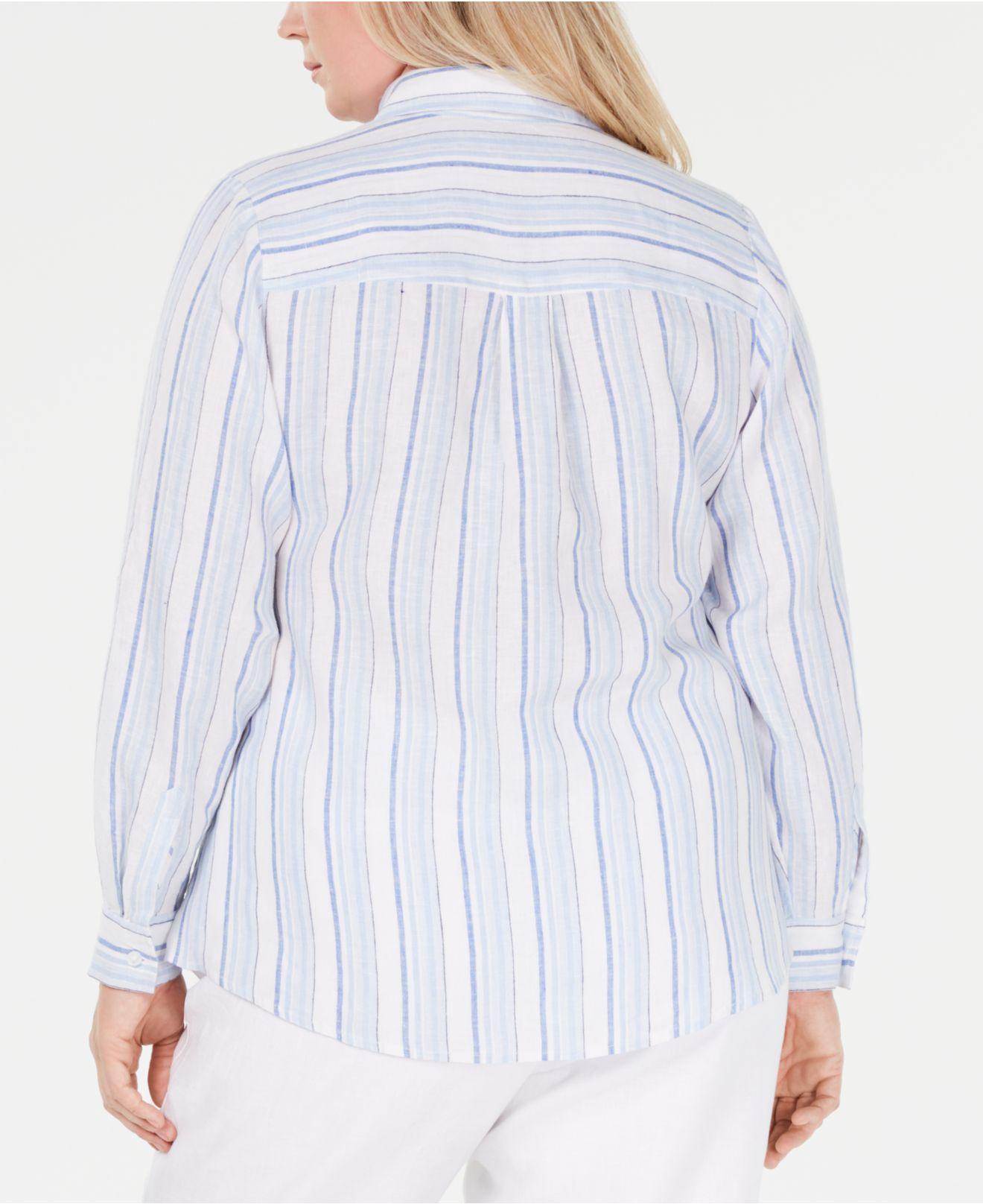 1d141e21da4 Lyst - Charter Club Plus Size Striped Linen Shirt
