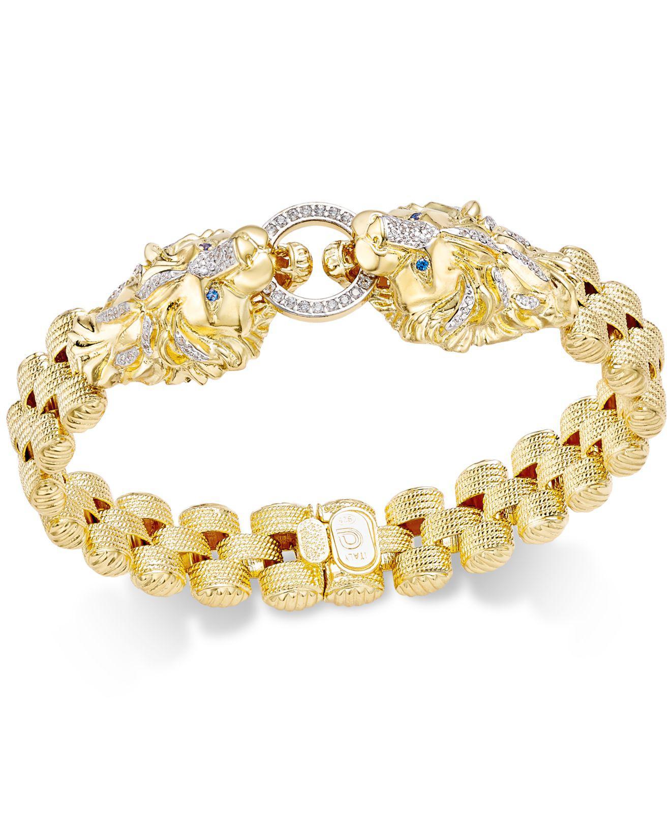 9432b1b2ccf0c Macy's Diamond Lion Link Bracelet (1/2 Ct. T.w.) In 14k Gold-plated ...